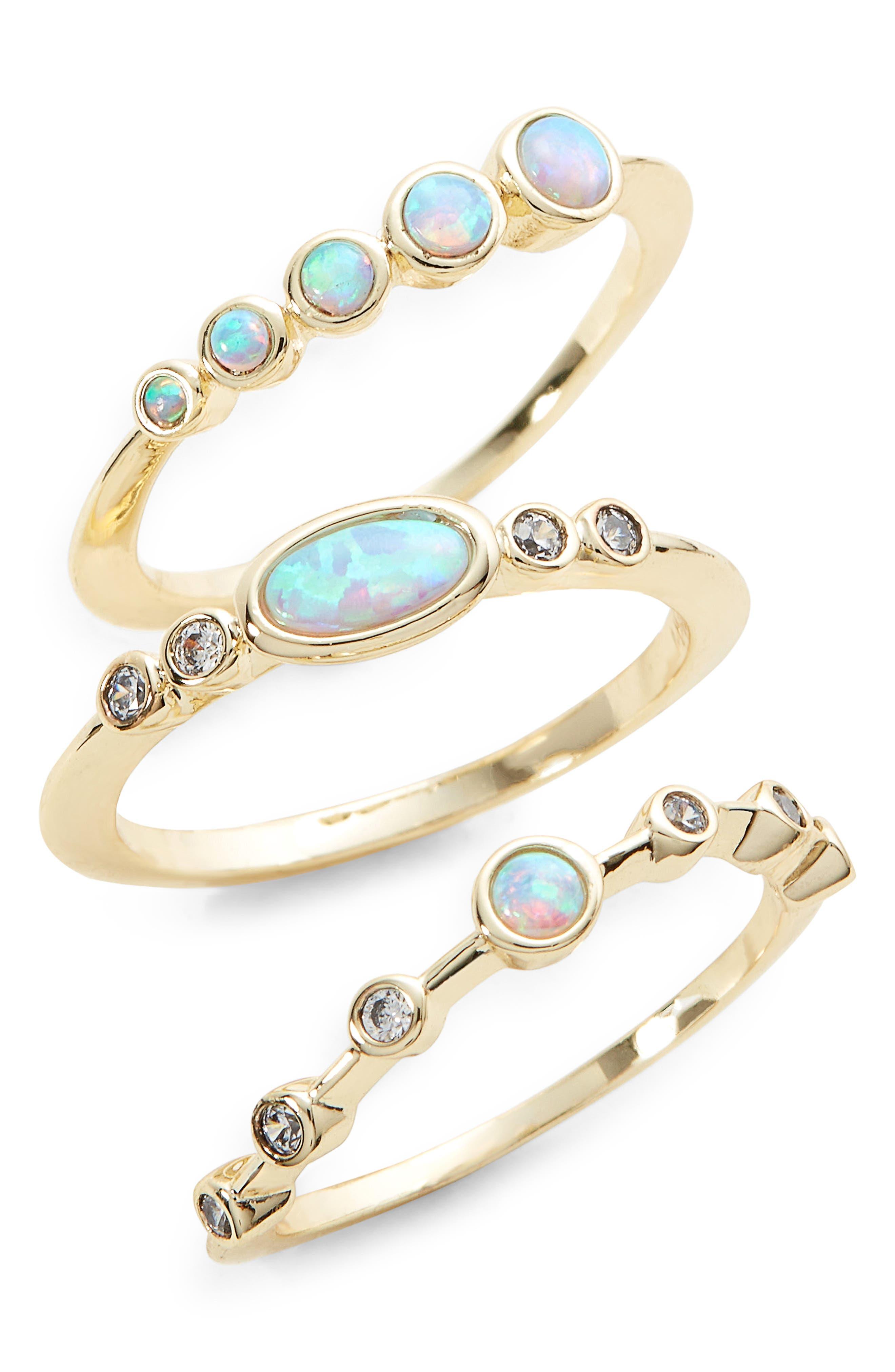 Monet Set of Three Opal Stacking Rings,                             Main thumbnail 1, color,                             Opal/ Crystal