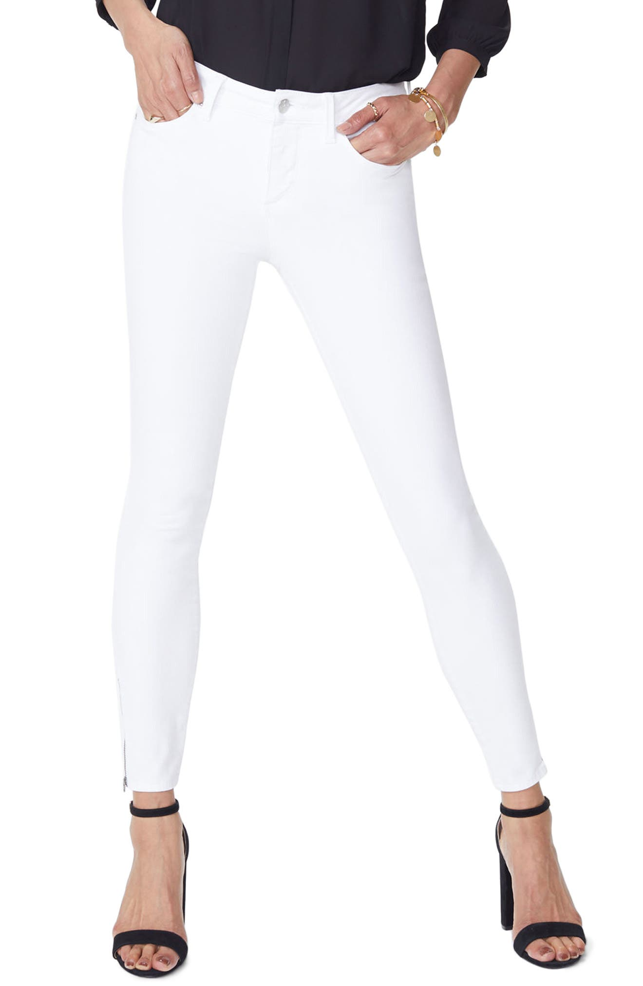 Dylan Skinny Ankle Zip Jeans,                             Main thumbnail 1, color,                             Optic White