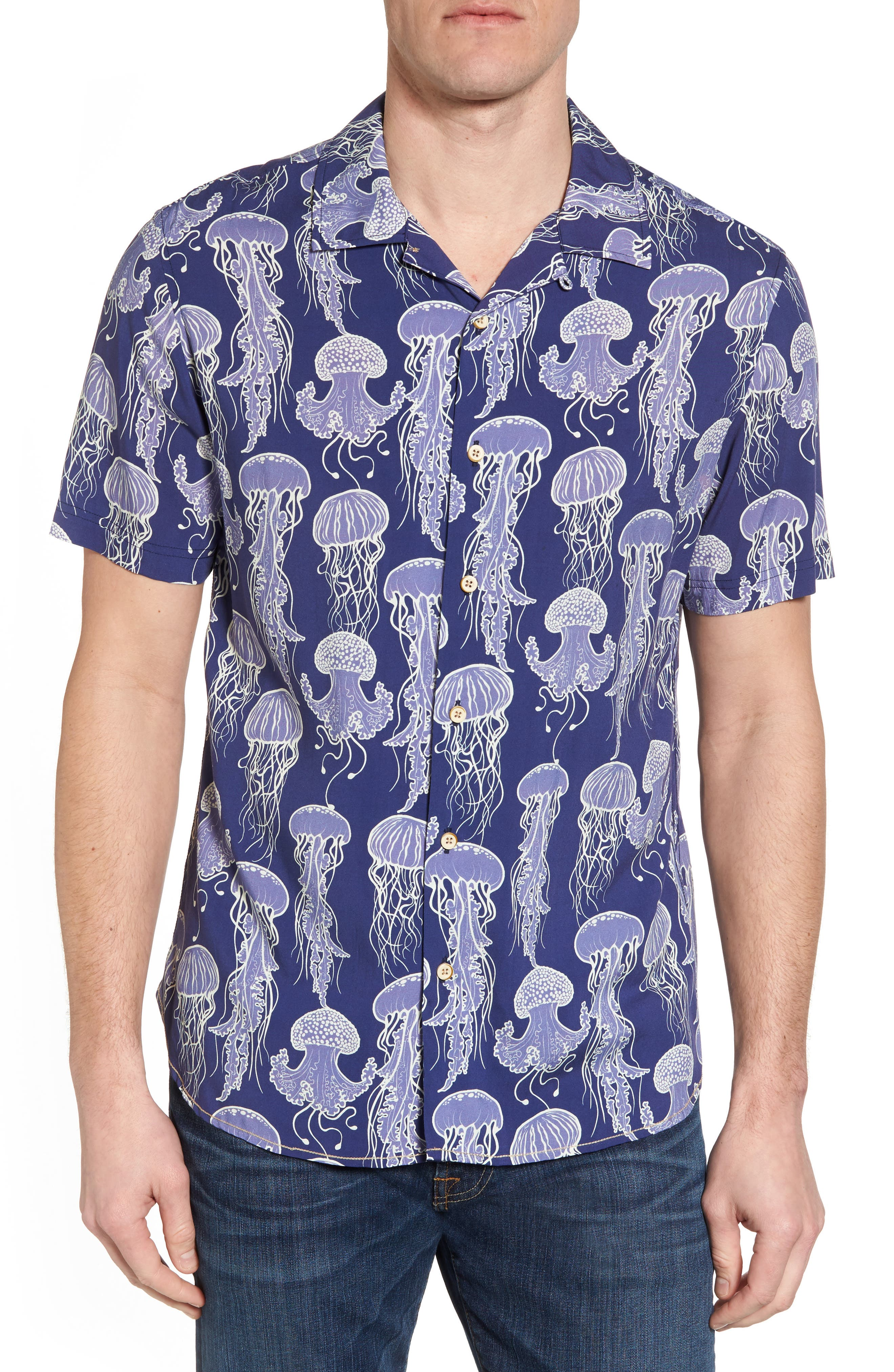 Jellyfish Print Camp Shirt,                         Main,                         color, Grape