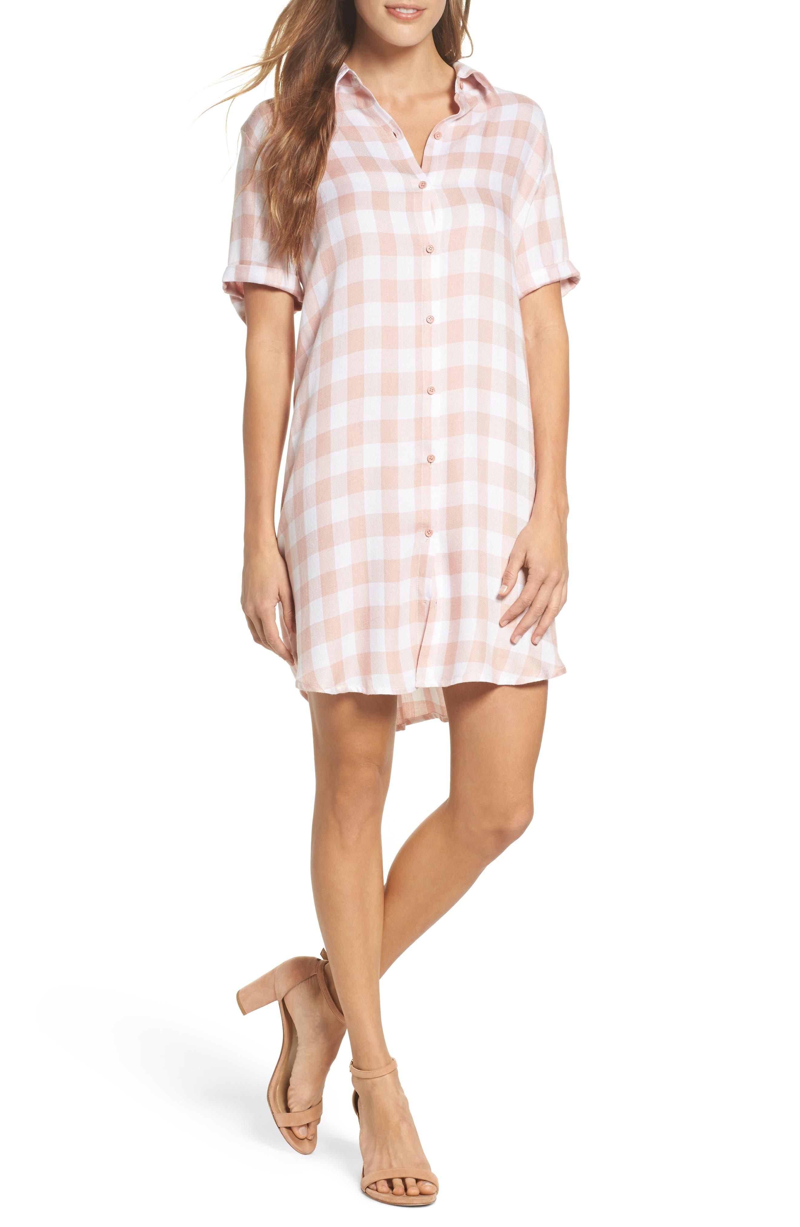 Cicely Plaid Shirtdress,                             Main thumbnail 1, color,                             Pink Lemonade