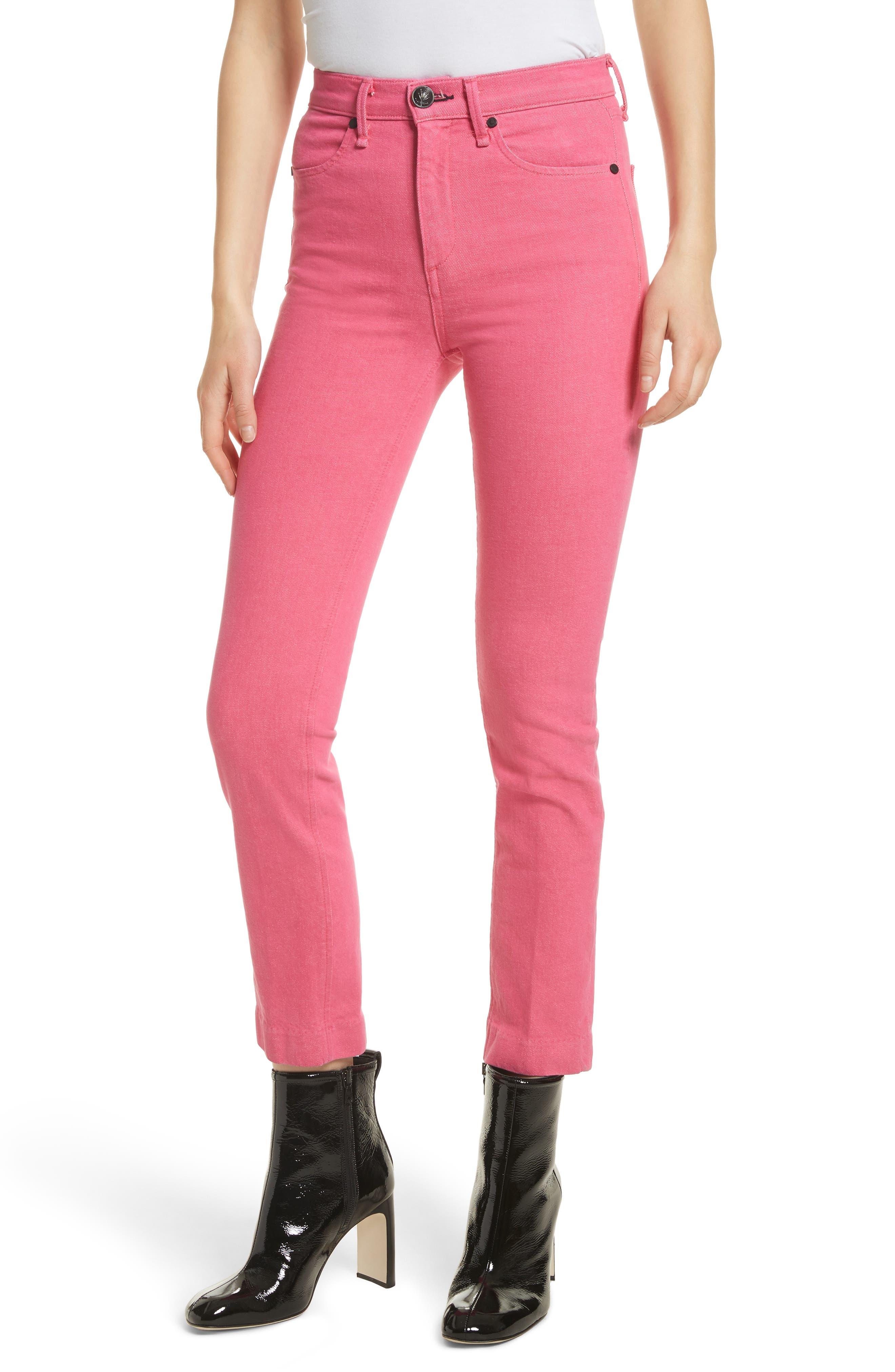 High Waist Ankle Cigarette Leg Jeans,                             Main thumbnail 1, color,                             Bull Pink
