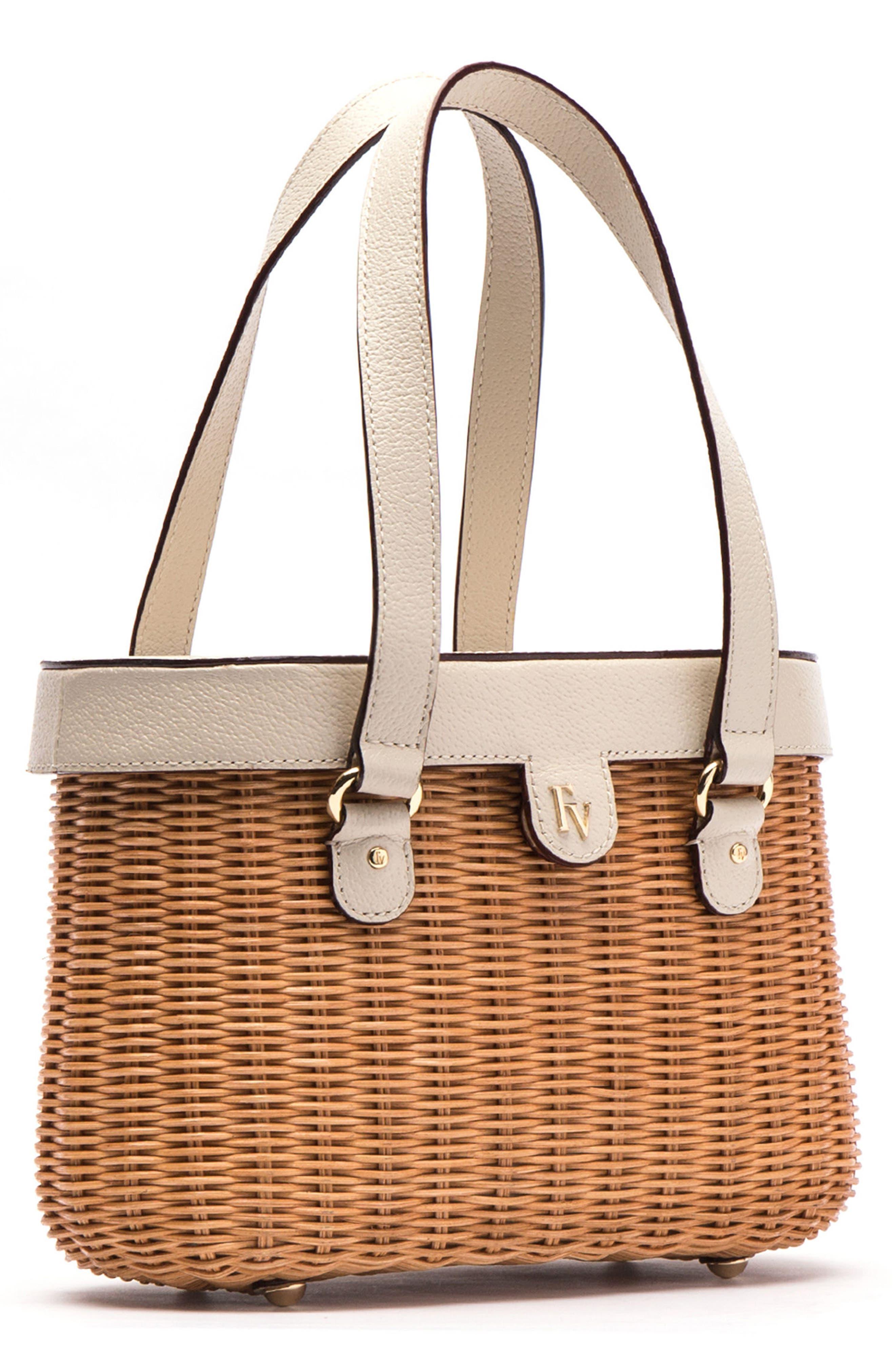 Wicker Basket Shoulder Bag,                             Alternate thumbnail 3, color,                             Natural/ Oyster