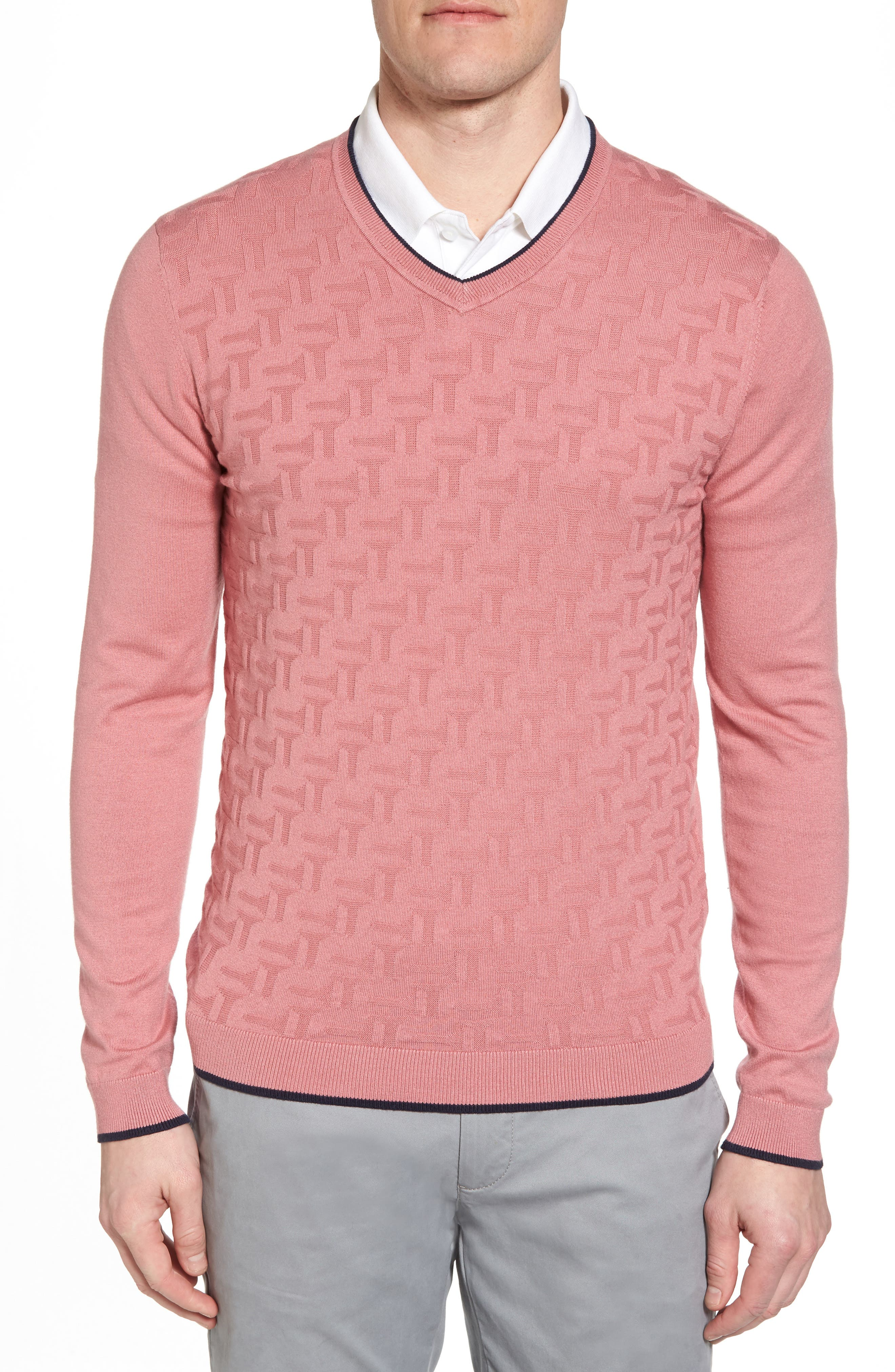 Armstro Tipped Golf Tee Sweater,                             Main thumbnail 1, color,                             Mid Pink