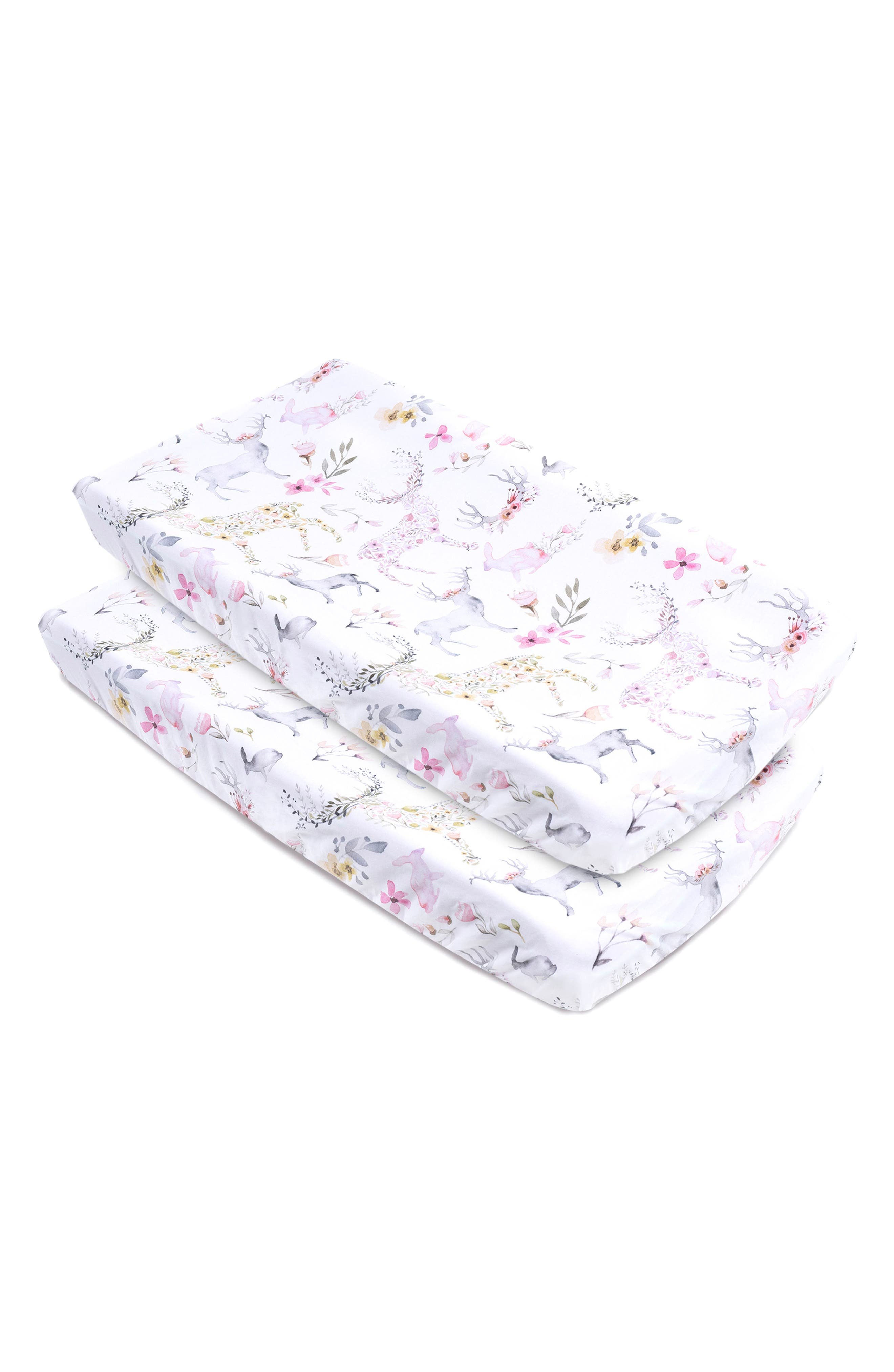 Fawn Print 2-Pack Changing Pad Covers,                             Main thumbnail 1, color,                             Fawn