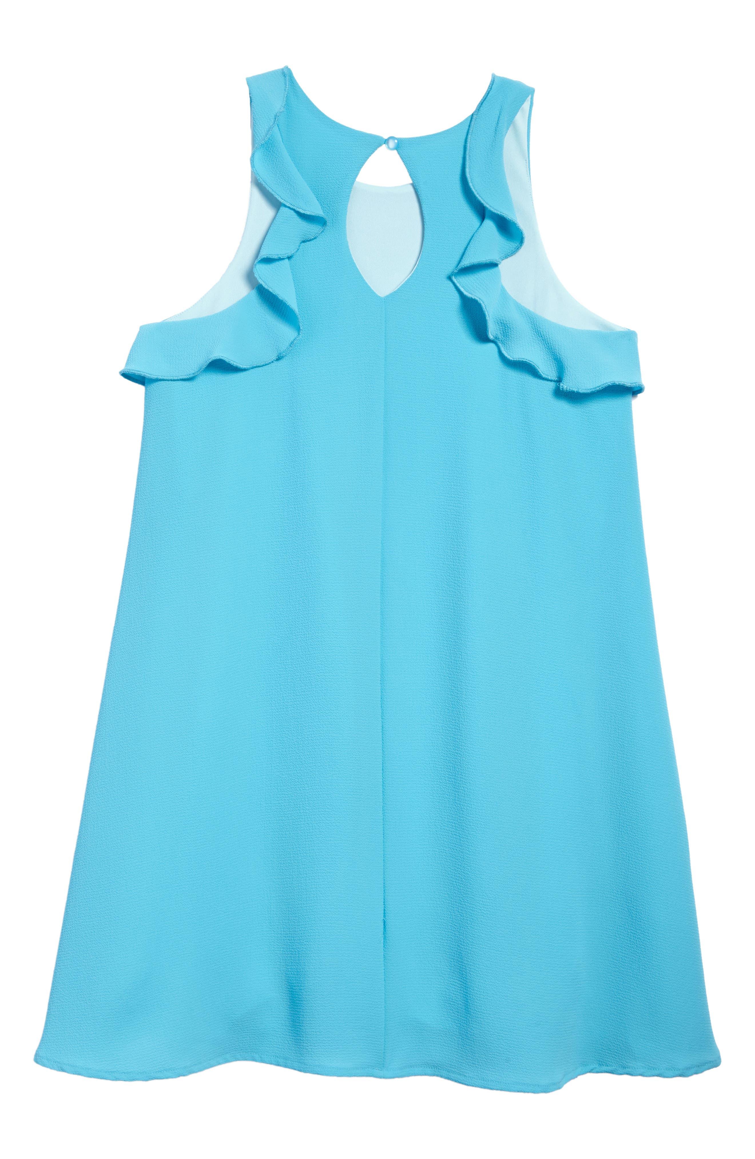 Alternate Image 2  - Ava & Yelly Ruffle Trapeze Dress (Big Girls)