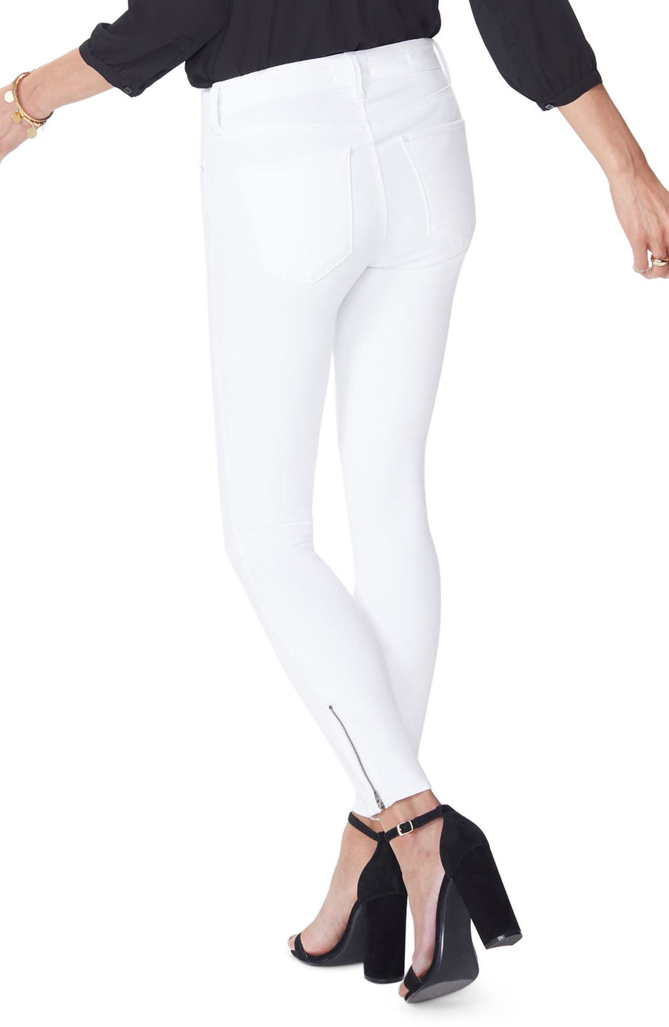 Dylan Skinny Ankle Zip Jeans,                             Alternate thumbnail 2, color,                             Optic White