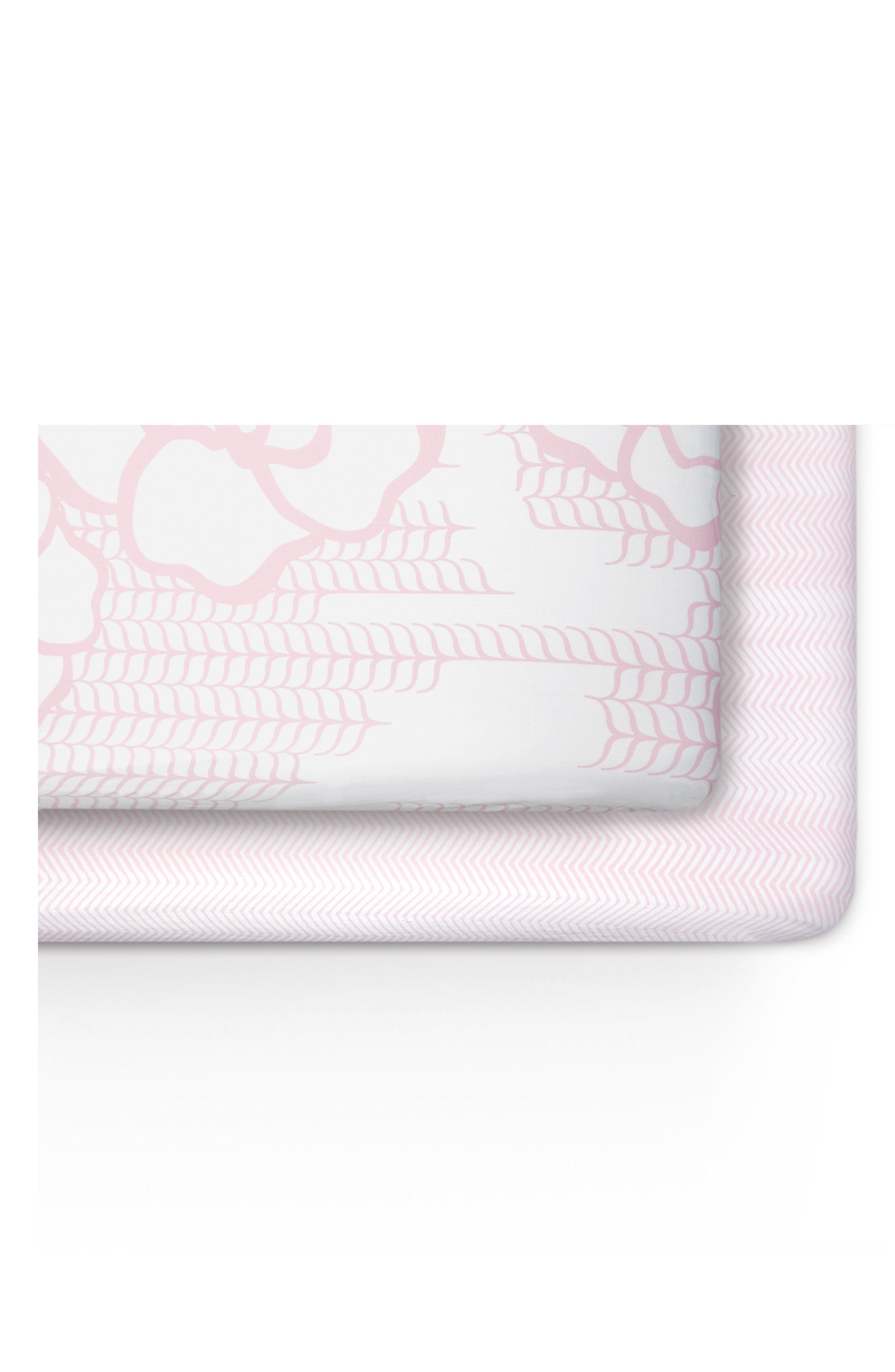 Capri & Zigzag 2-Pack Jersey Crib Sheets,                             Main thumbnail 1, color,                             Capri