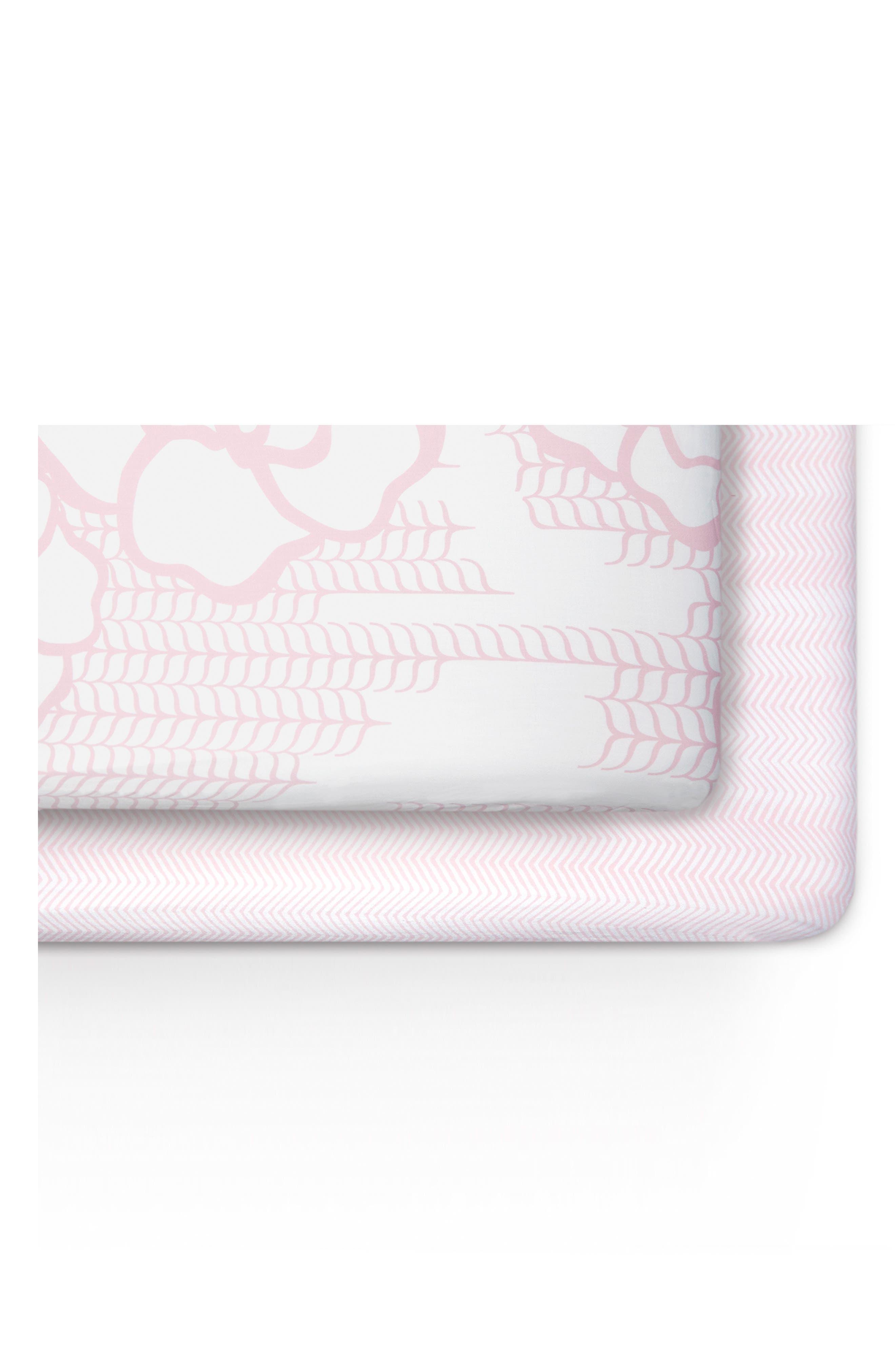 Capri & Zigzag 2-Pack Jersey Crib Sheets,                         Main,                         color, Capri