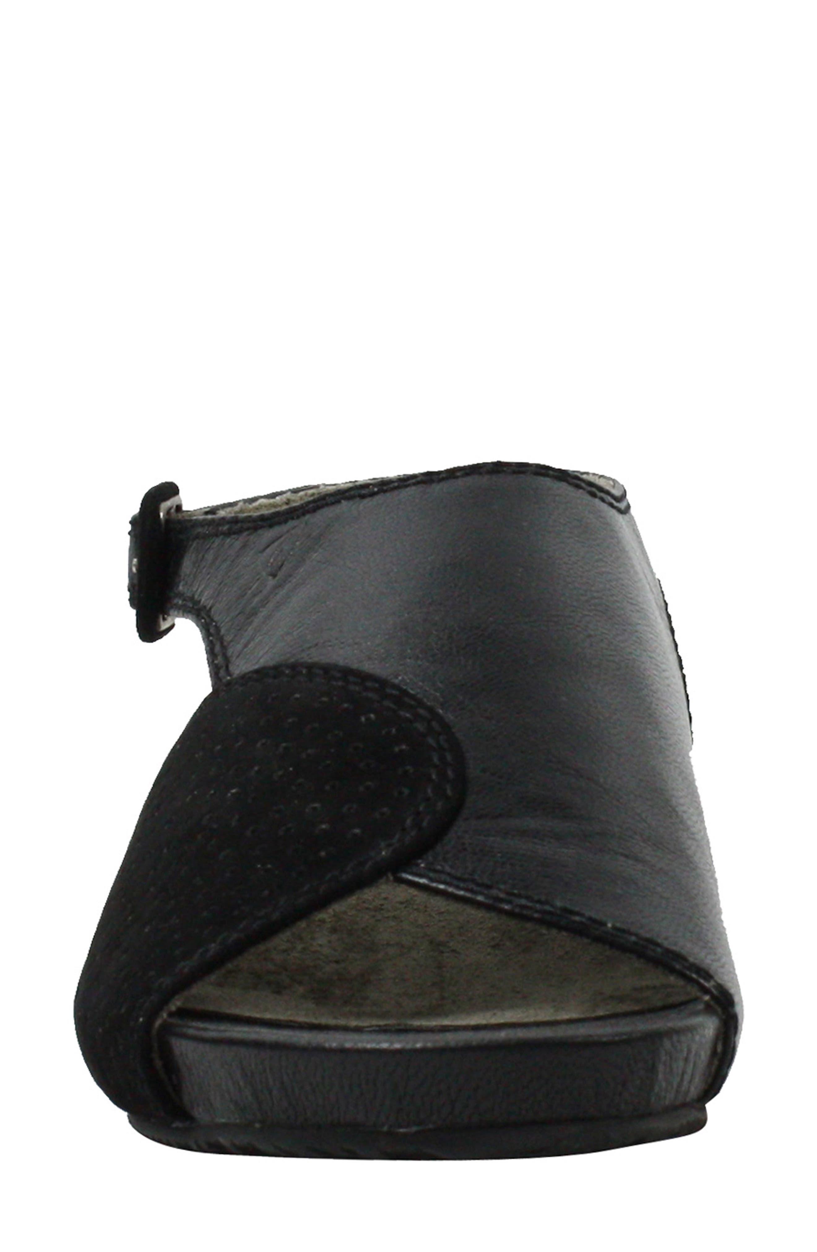 Dalenna Ankle Strap Sandal,                             Alternate thumbnail 4, color,                             Black Leather