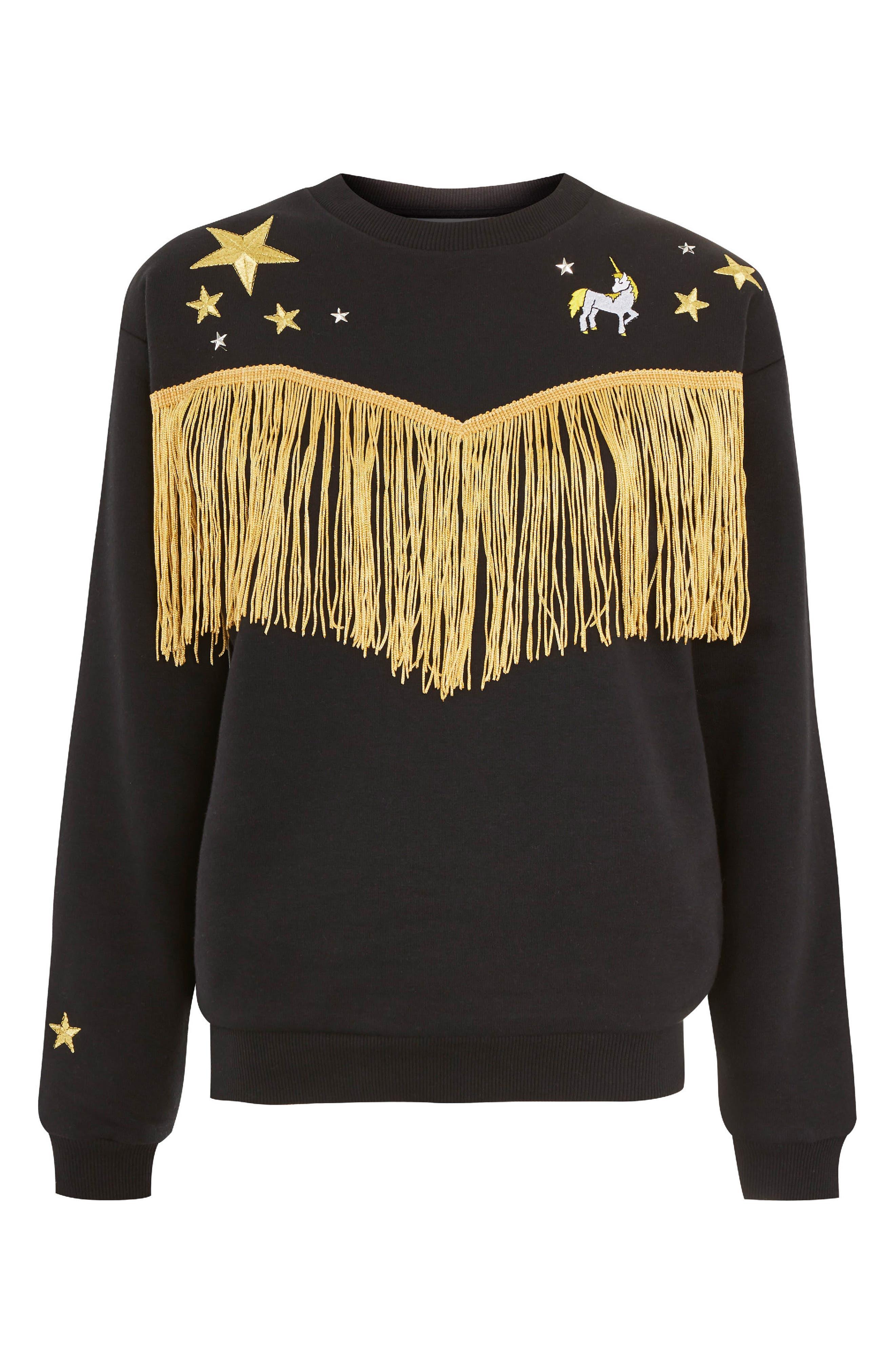 by Tee & Cake Western Fringe Sweatshirt,                             Alternate thumbnail 4, color,                             Black Multi