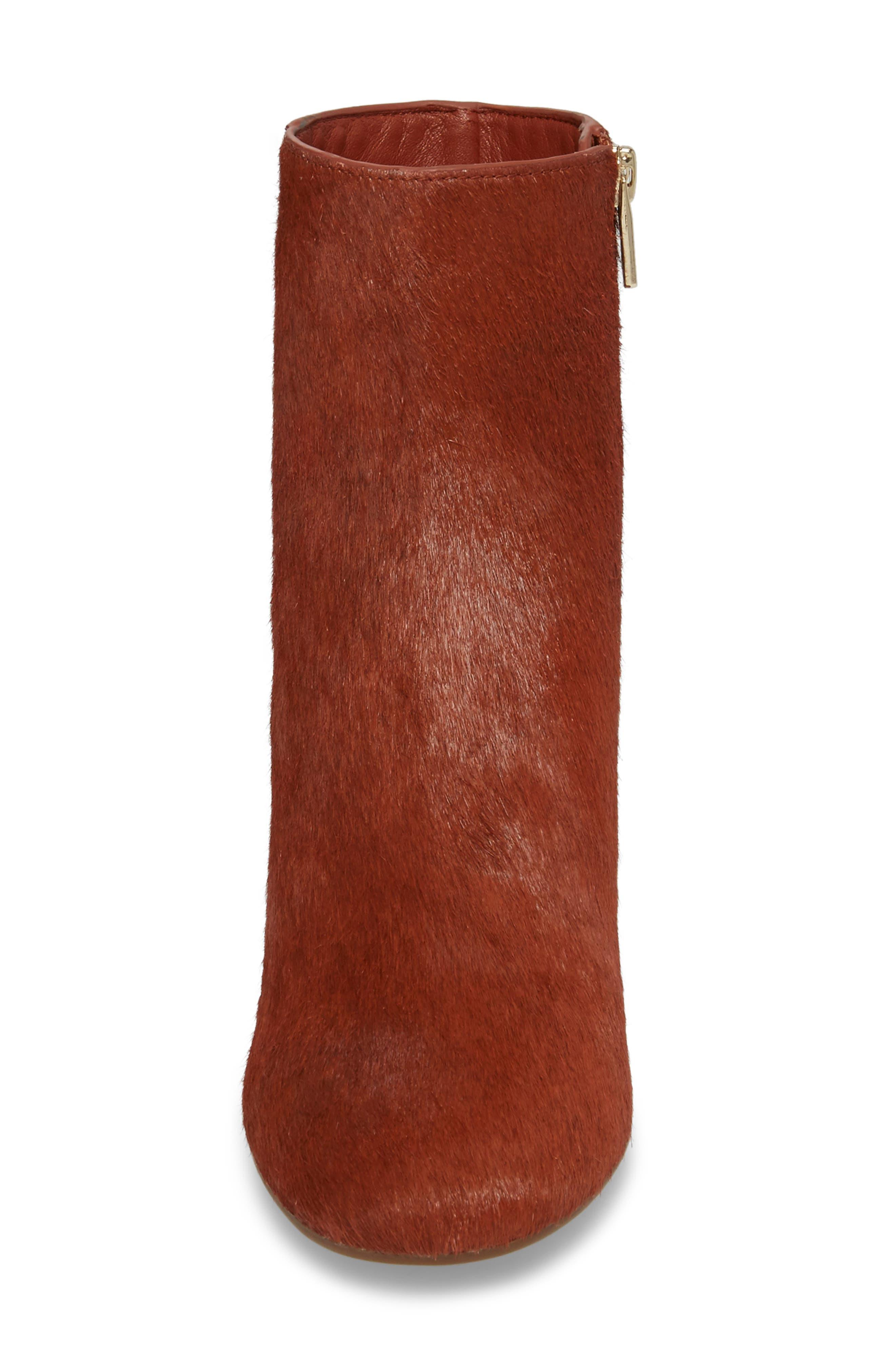 Cassidy Genuine Calf Hair Block Heel Bootie,                             Alternate thumbnail 4, color,                             Terracotta Calf Hair