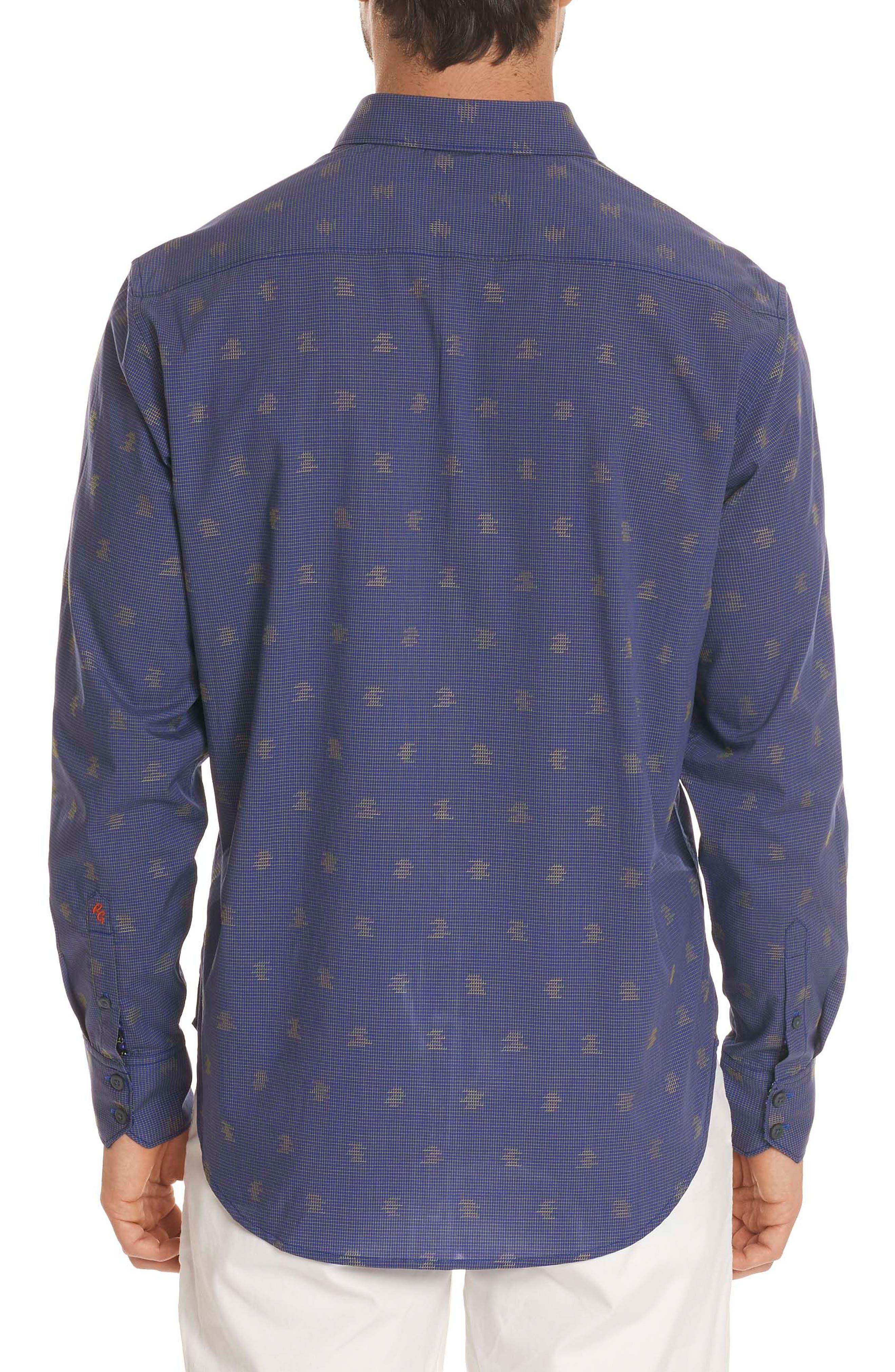 Vidin Regular Fit Jacquard Dot Sport Shirt,                             Alternate thumbnail 2, color,                             Blue
