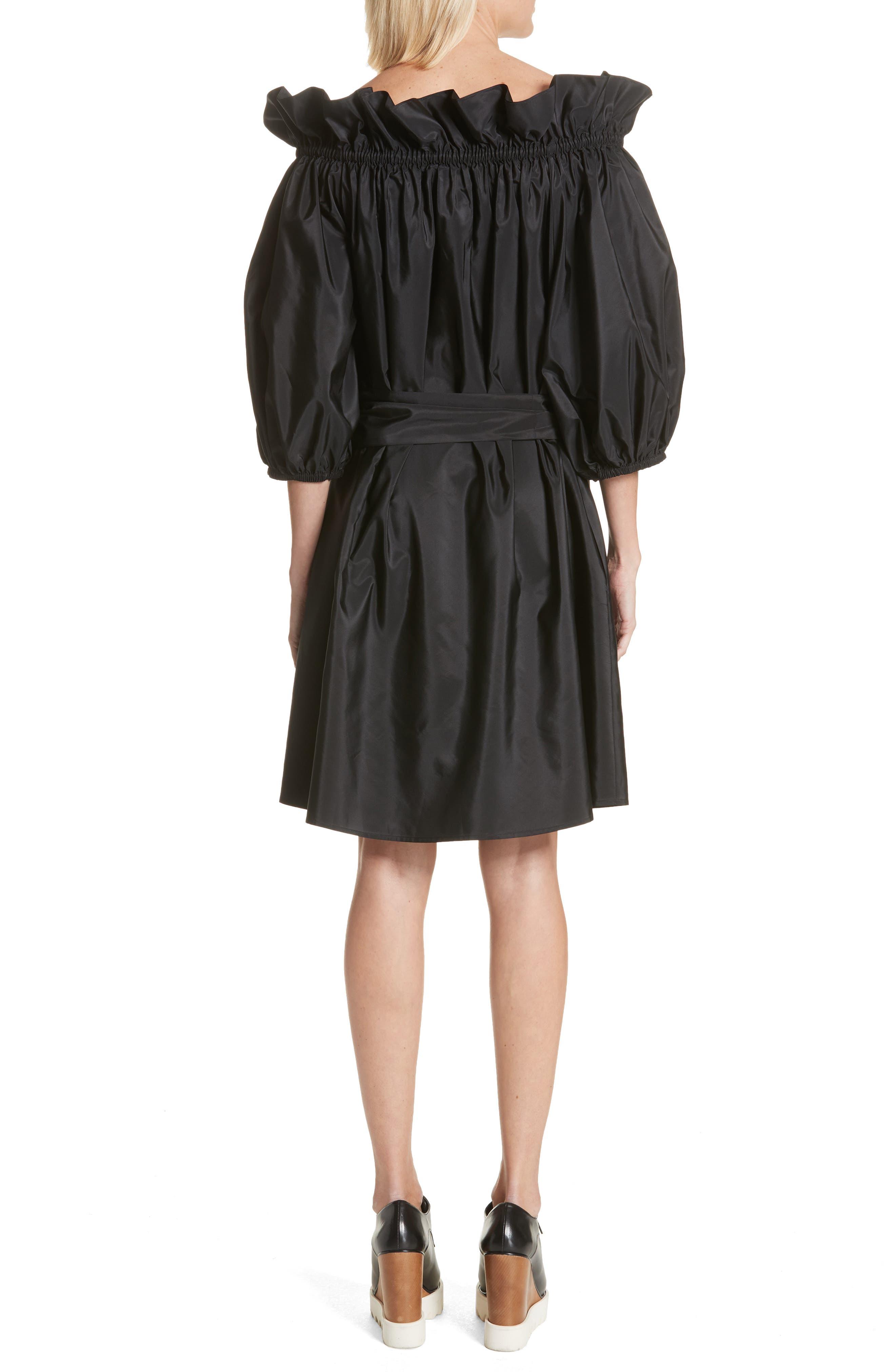 Belted Off the Shoulder Taffeta Dress,                             Alternate thumbnail 2, color,                             Black
