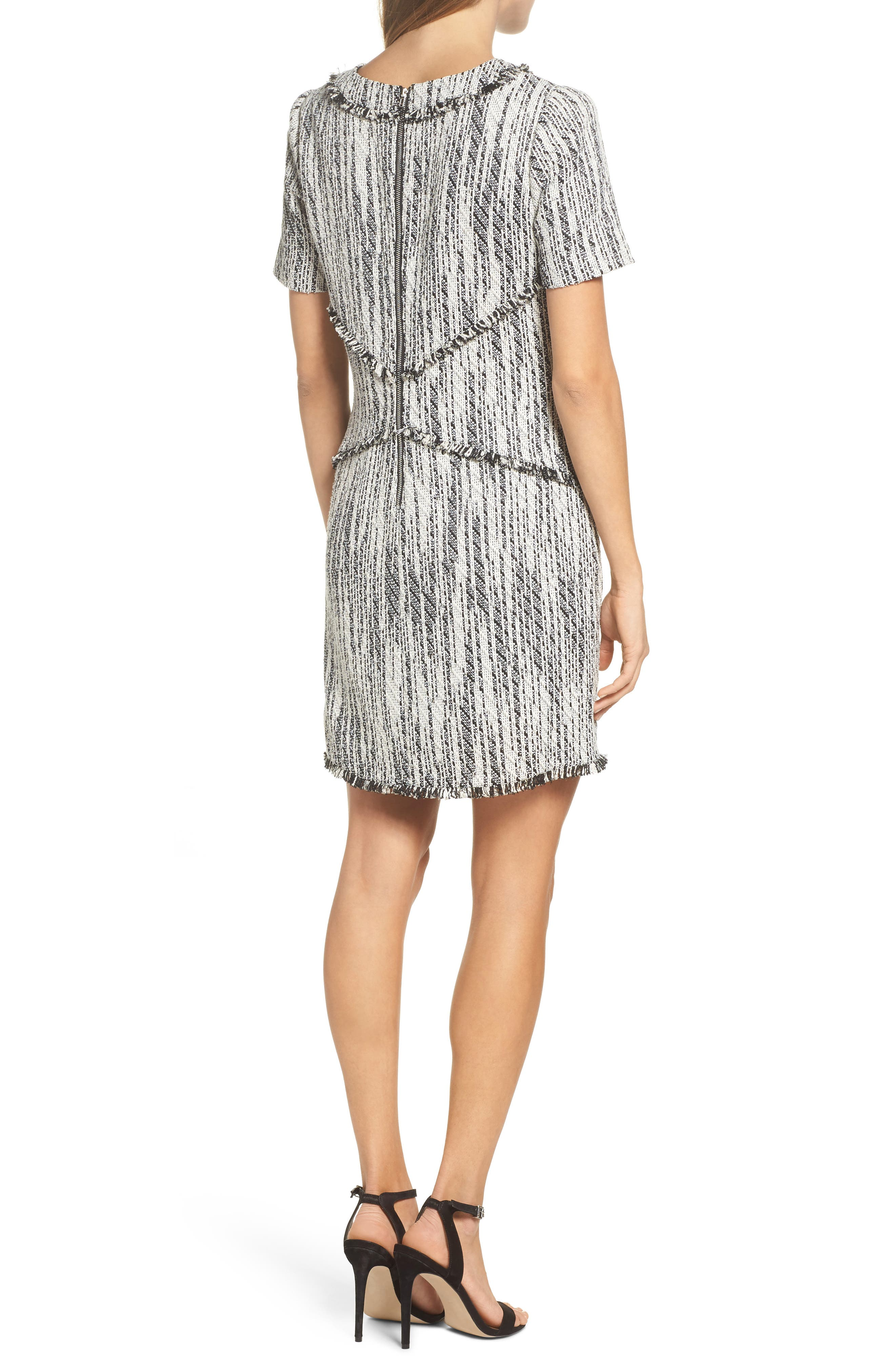 Dolce Vita Tweed Shift Dress,                             Alternate thumbnail 3, color,                             Black/ Ivory Tweed