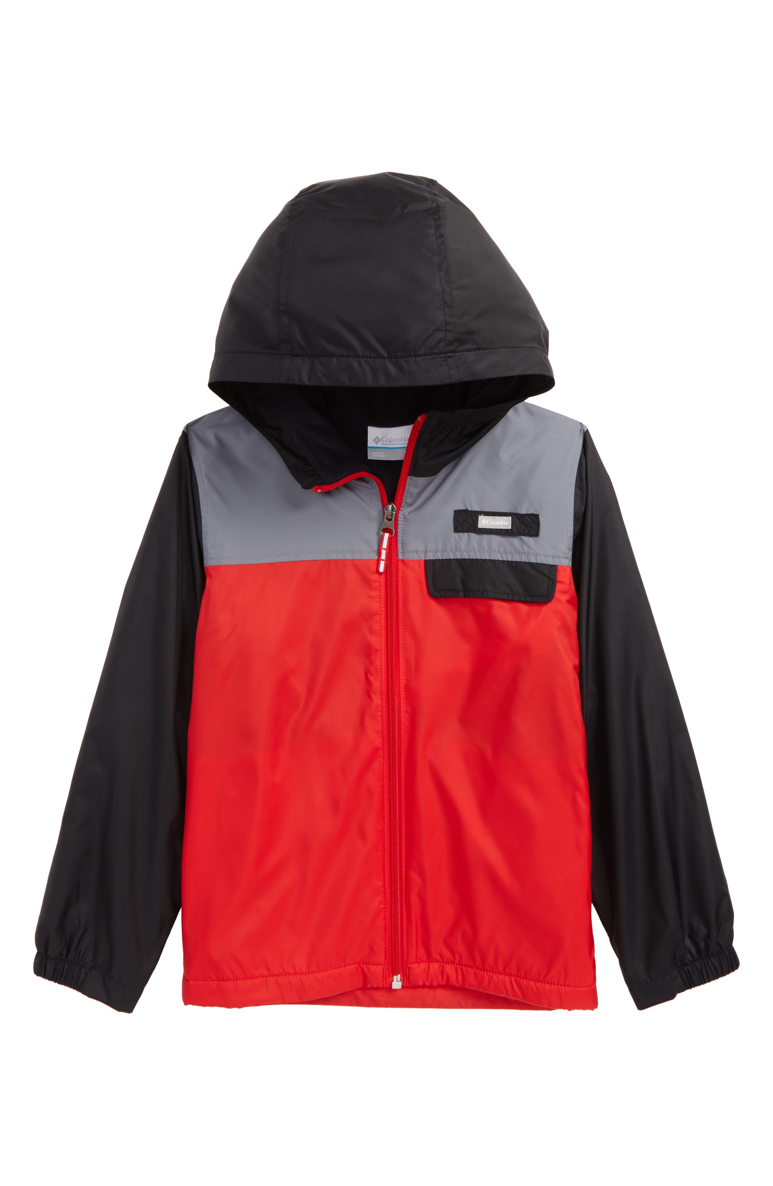 Mountain Side Water Resistant Windbreaker Jacket,                         Main,                         color, Bright Red/ Grey Ash/Black