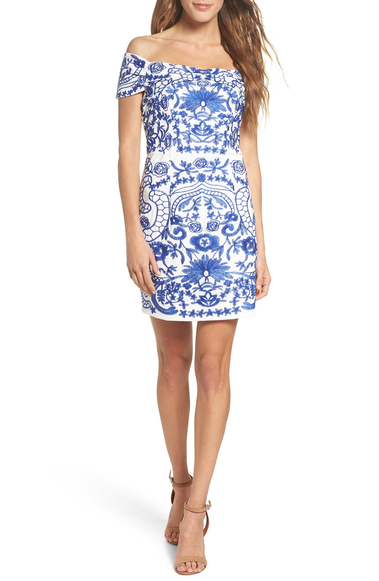 Betina Embroidered Off the Shoulder Dress,                             Main thumbnail 1, color,                             Cobalt