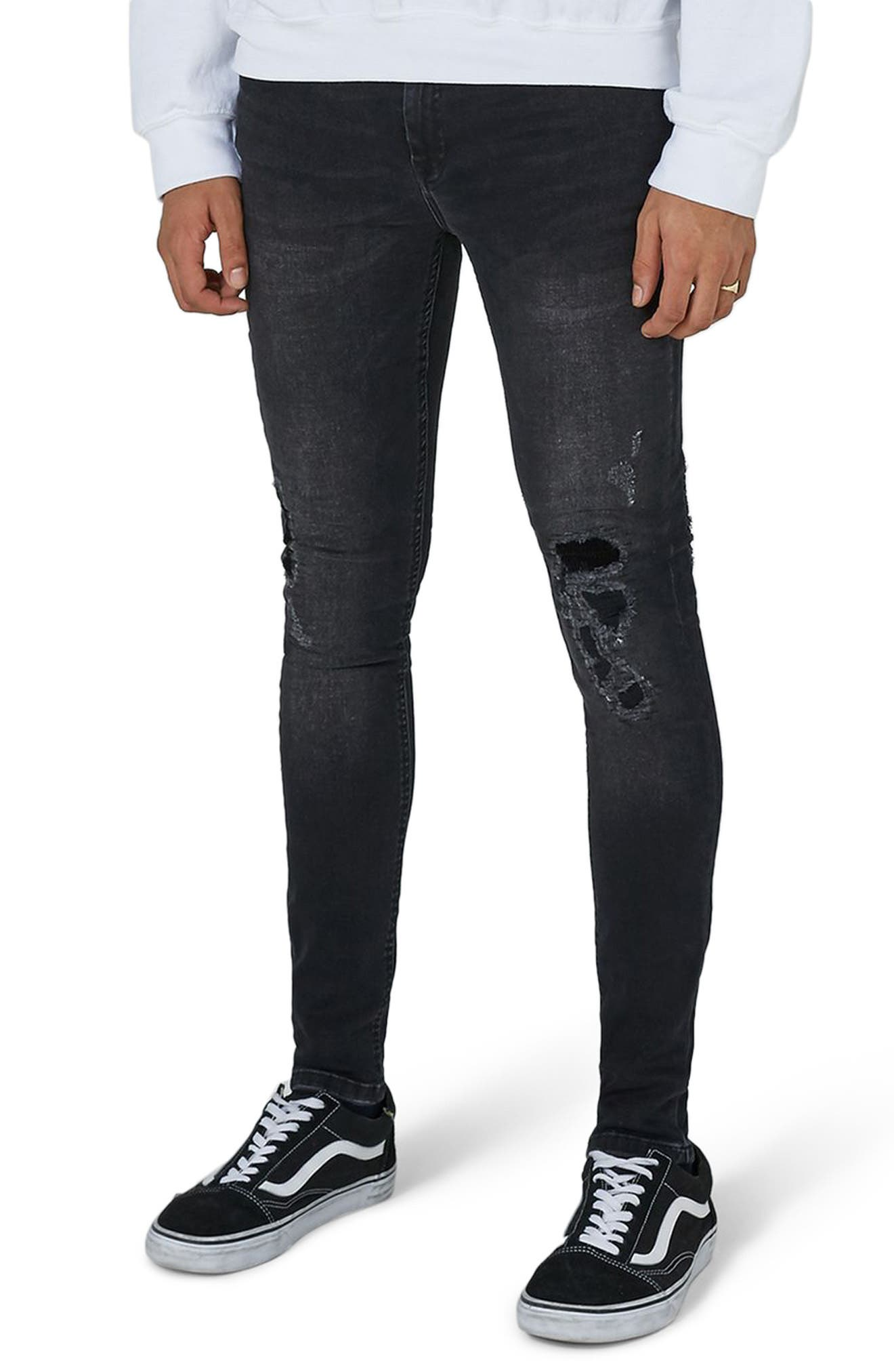Repair Spray-On Skinny Fit Jeans,                         Main,                         color, Black