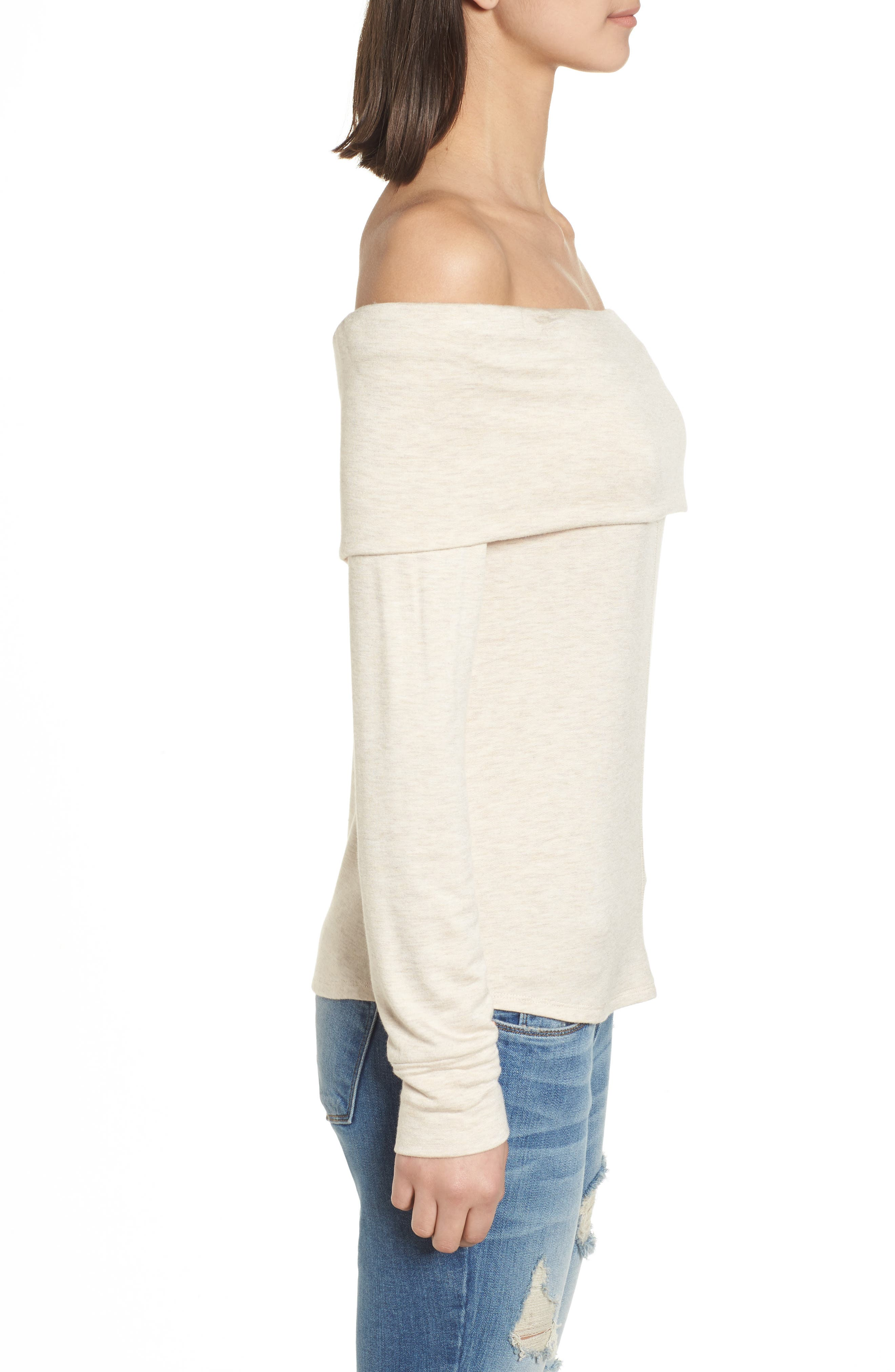 Foldover Off the Shoulder Top,                             Alternate thumbnail 3, color,                             Oatmeal