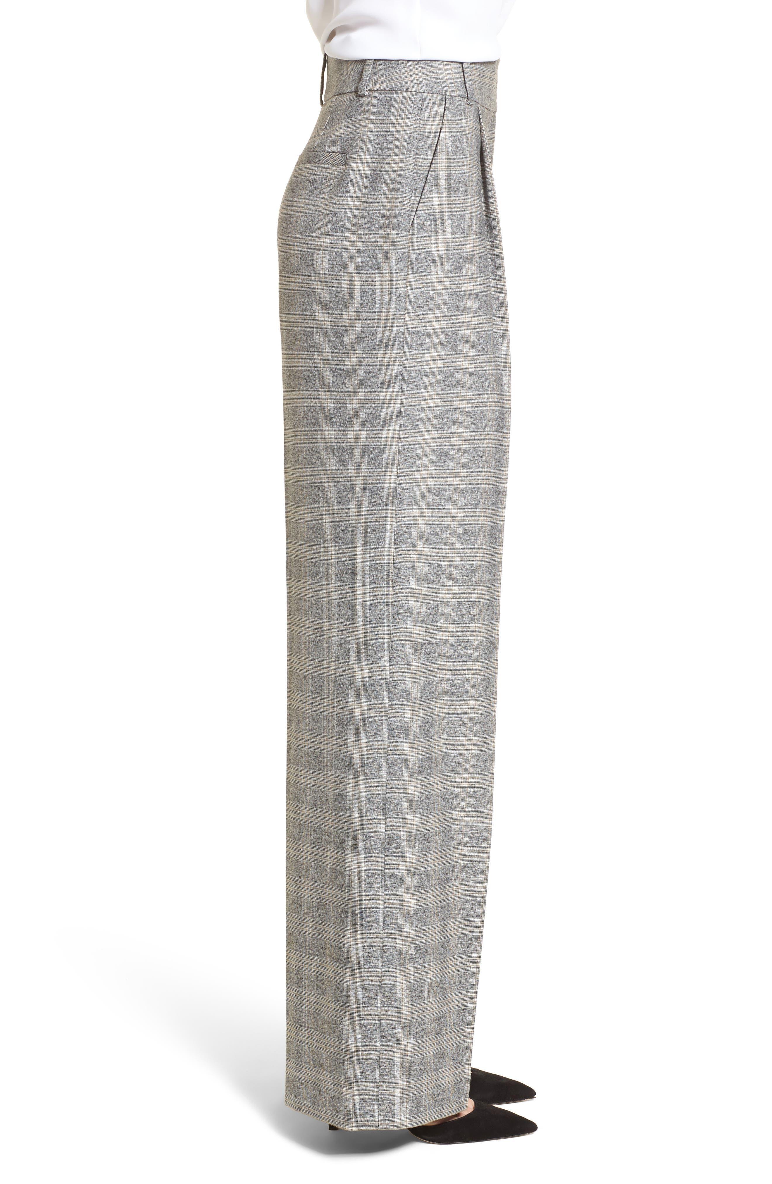 Check Plaid Wide Leg Suit Pants,                             Alternate thumbnail 3, color,                             Grey Check