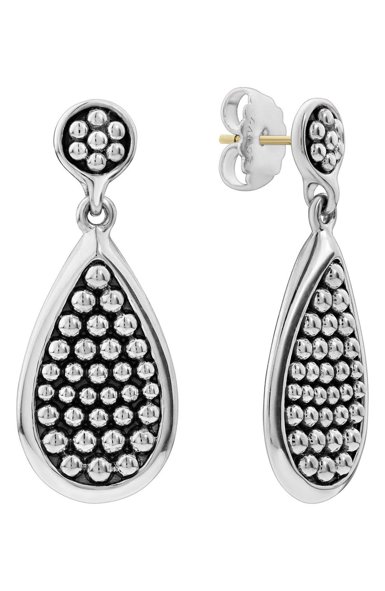 Bold Caviar Medium Flat Drop Earrings,                             Main thumbnail 1, color,                             Silver