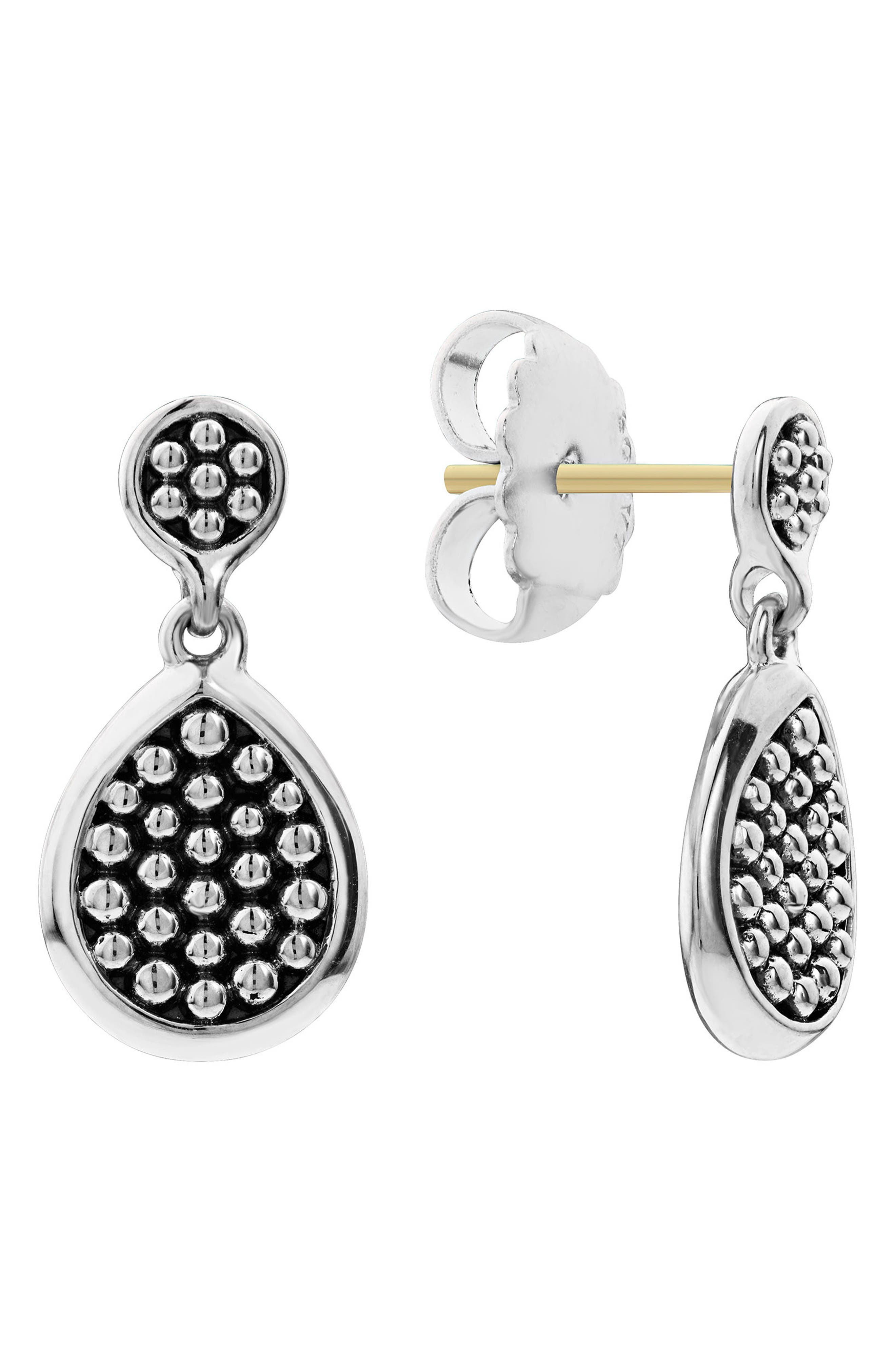 Signature Caviar Flat Drop Earrings,                             Main thumbnail 1, color,                             Silver