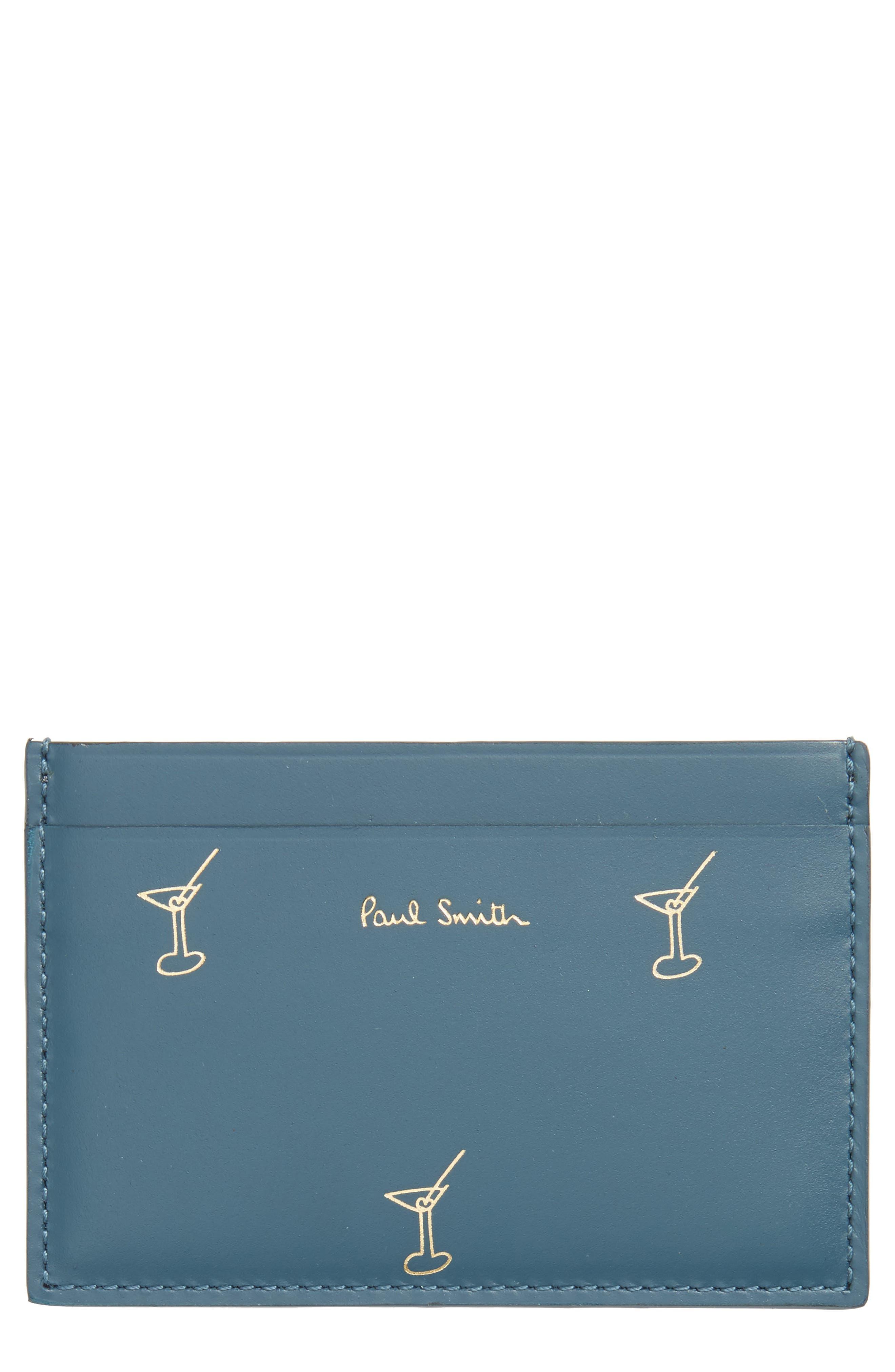 Doodles Leather Card Case,                         Main,                         color, Blue Multi