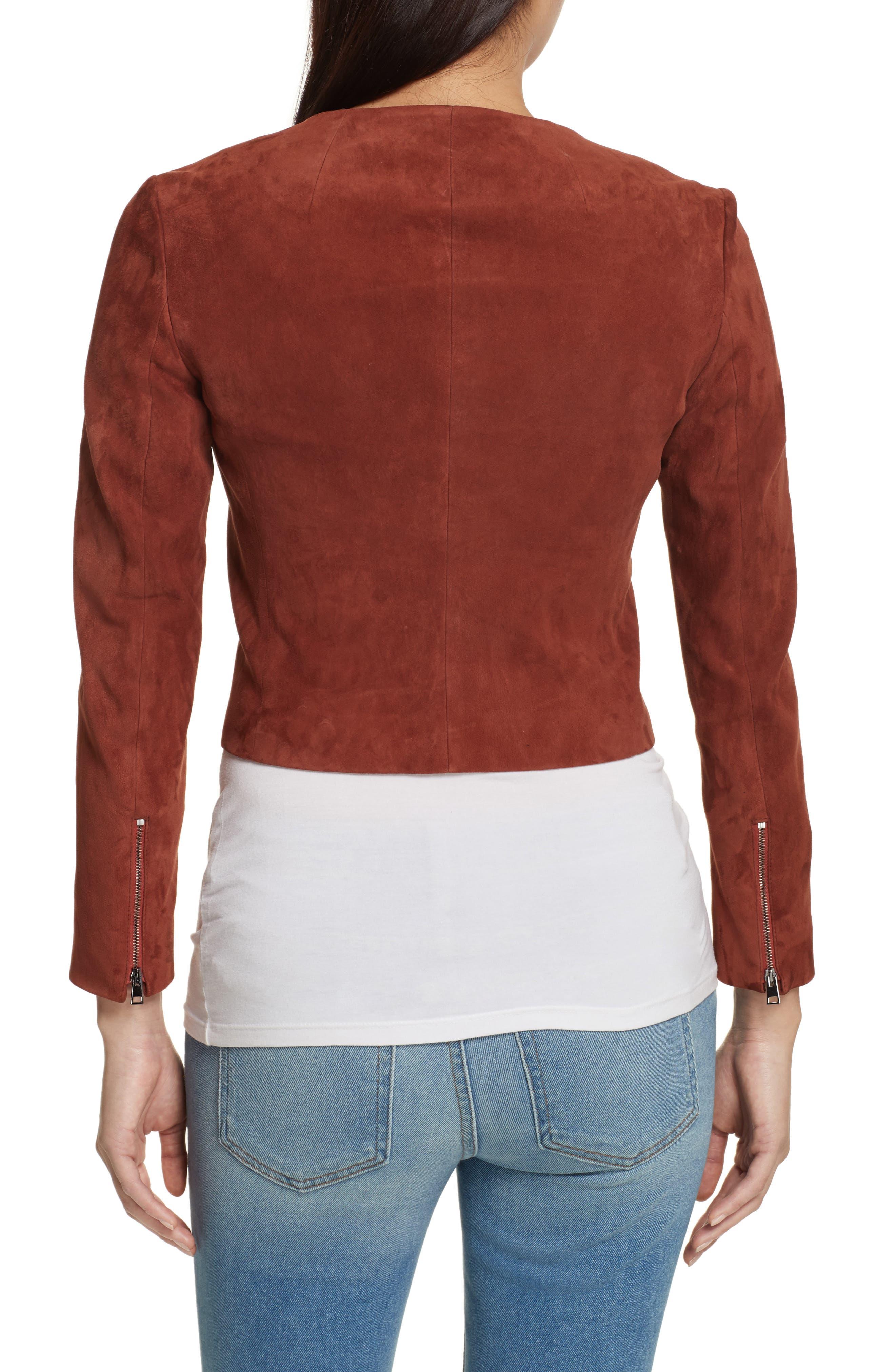 Morene Stretch Suede Jacket,                             Alternate thumbnail 2, color,                             Brown Russet