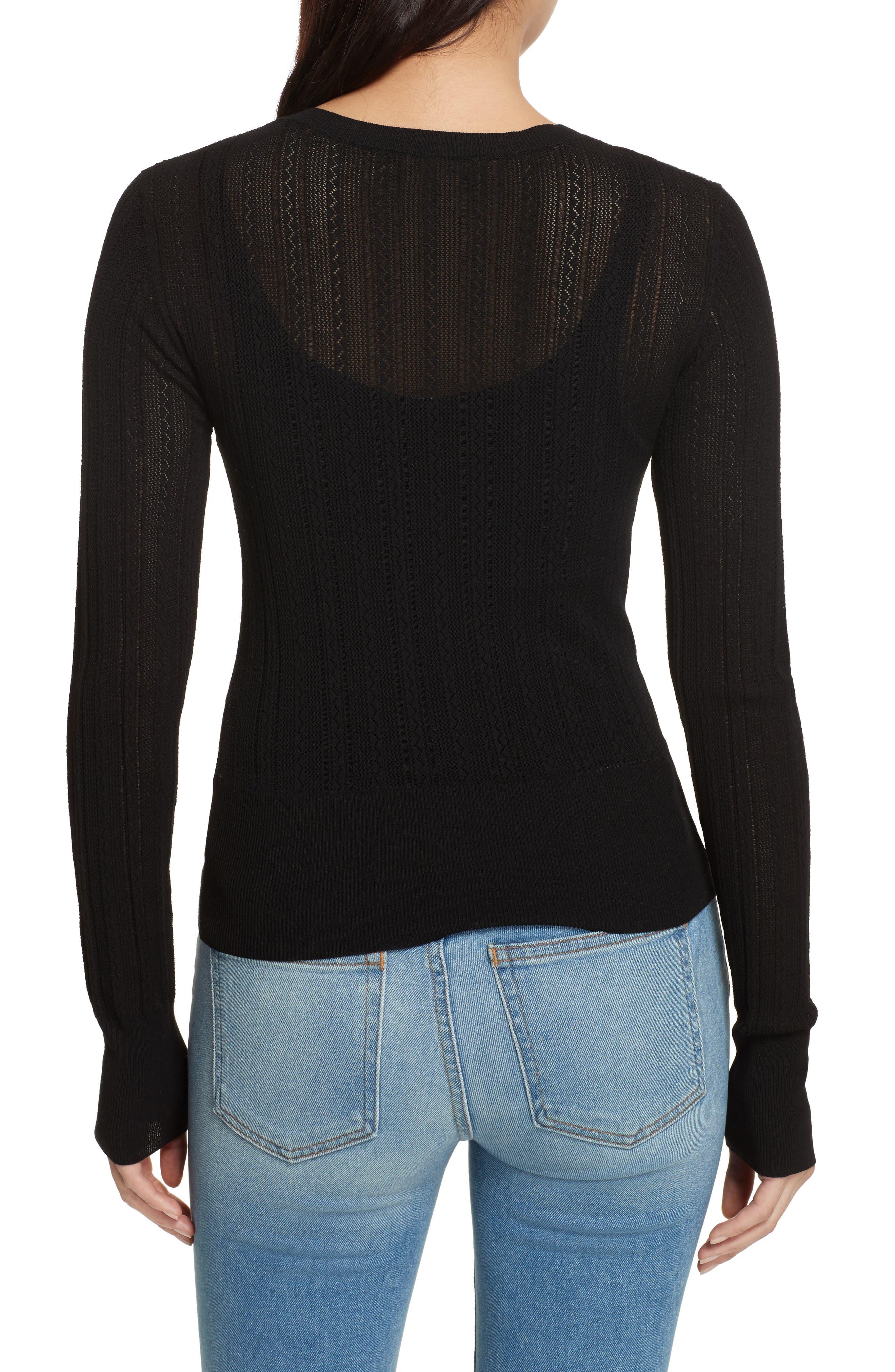 Prosecco Lace Knit Cardigan,                             Alternate thumbnail 2, color,                             Black