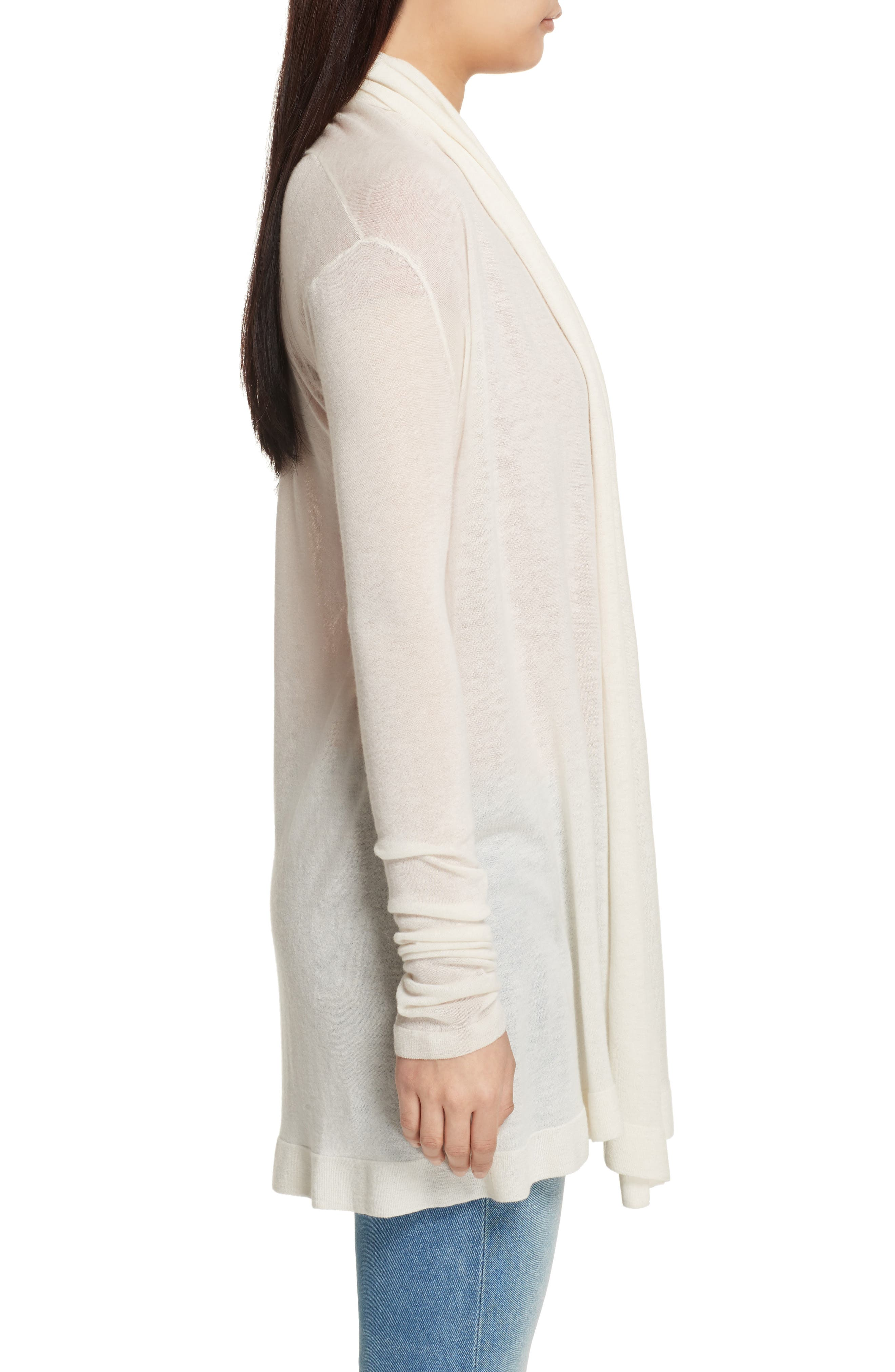 Featherweight Cashmere Cardigan,                             Alternate thumbnail 3, color,                             Ivory