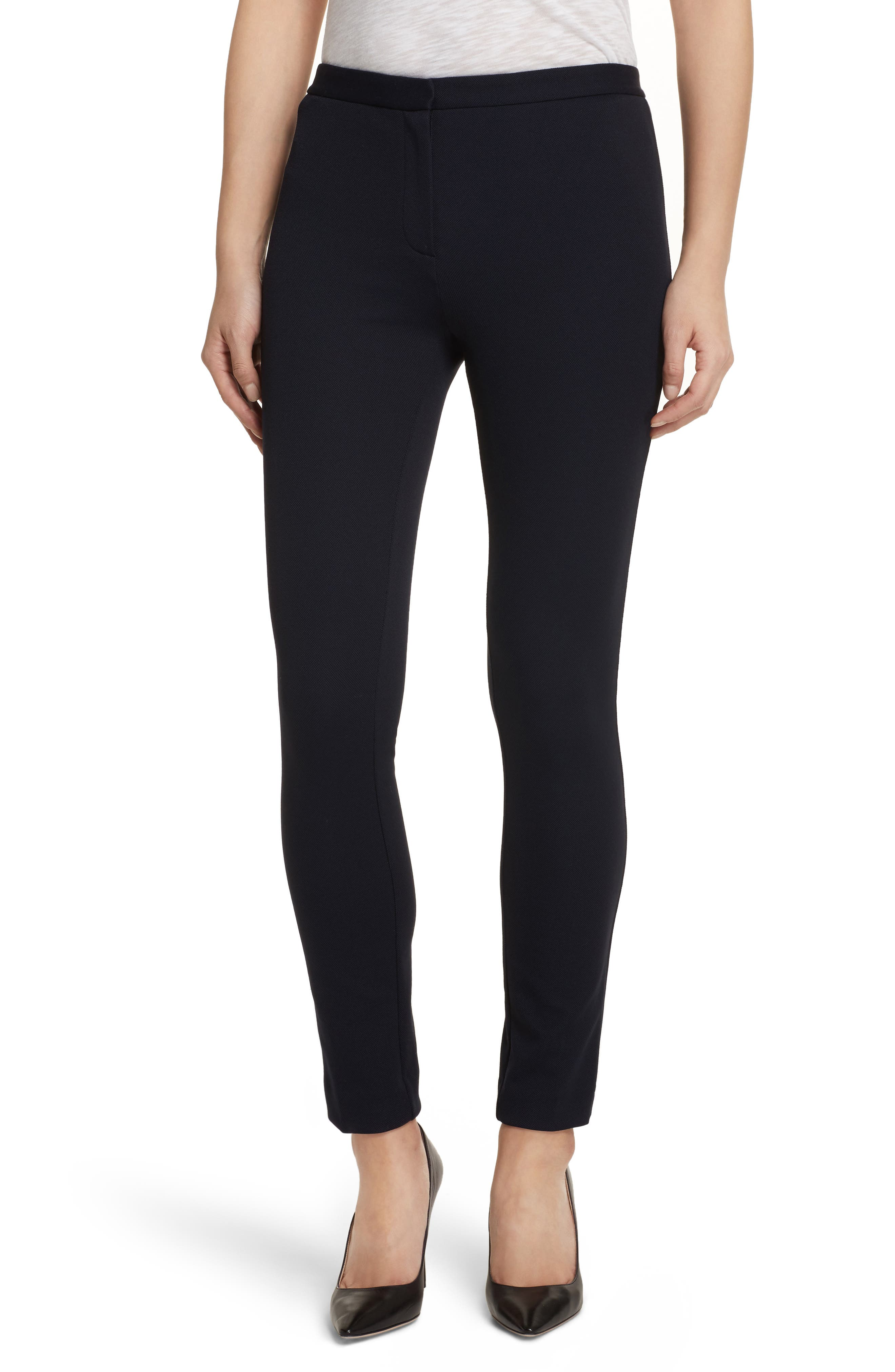 Piqué Skinny Pants,                         Main,                         color, Black