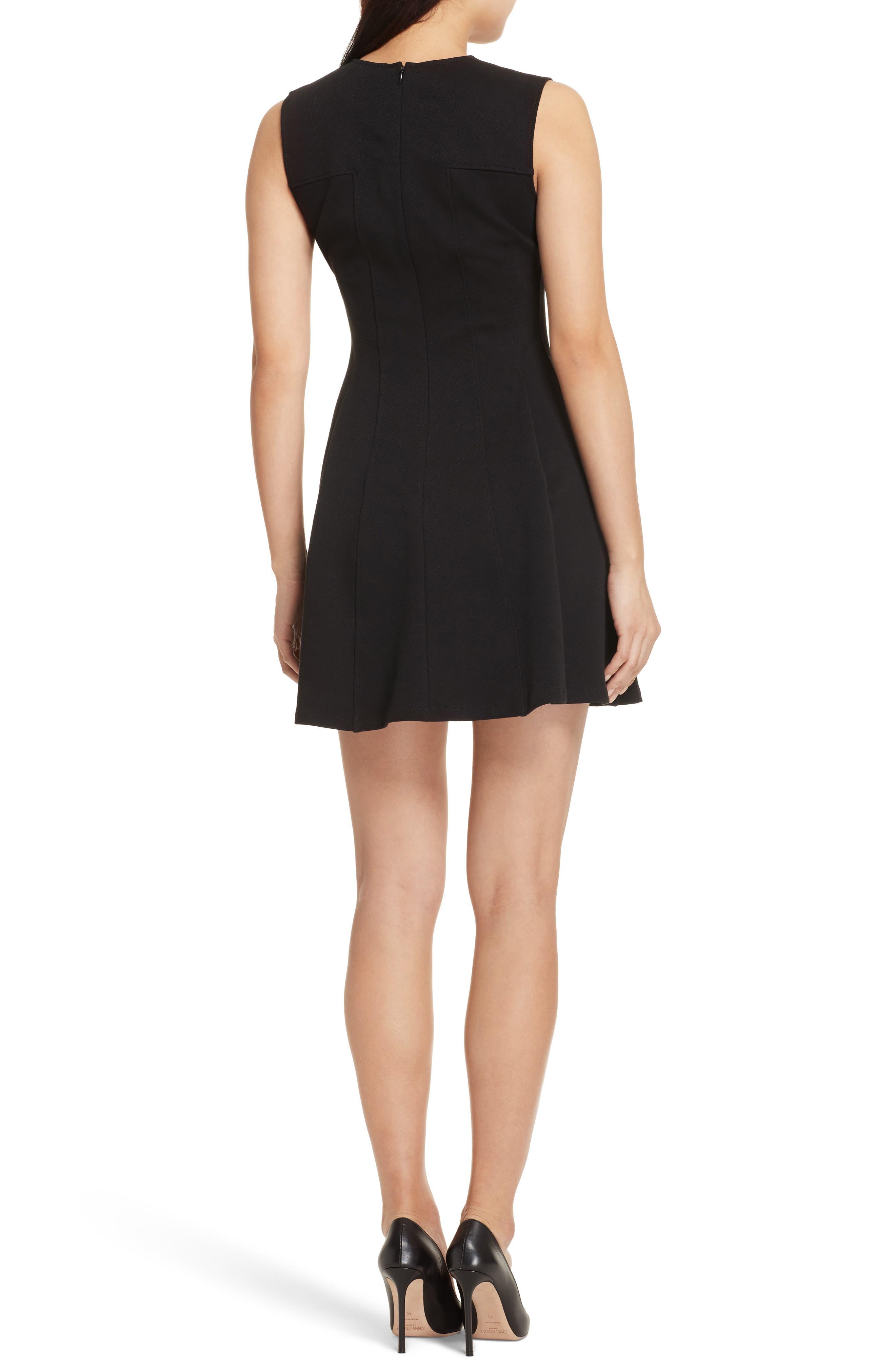 Piqué Fit & Flare Dress,                             Alternate thumbnail 2, color,                             Black