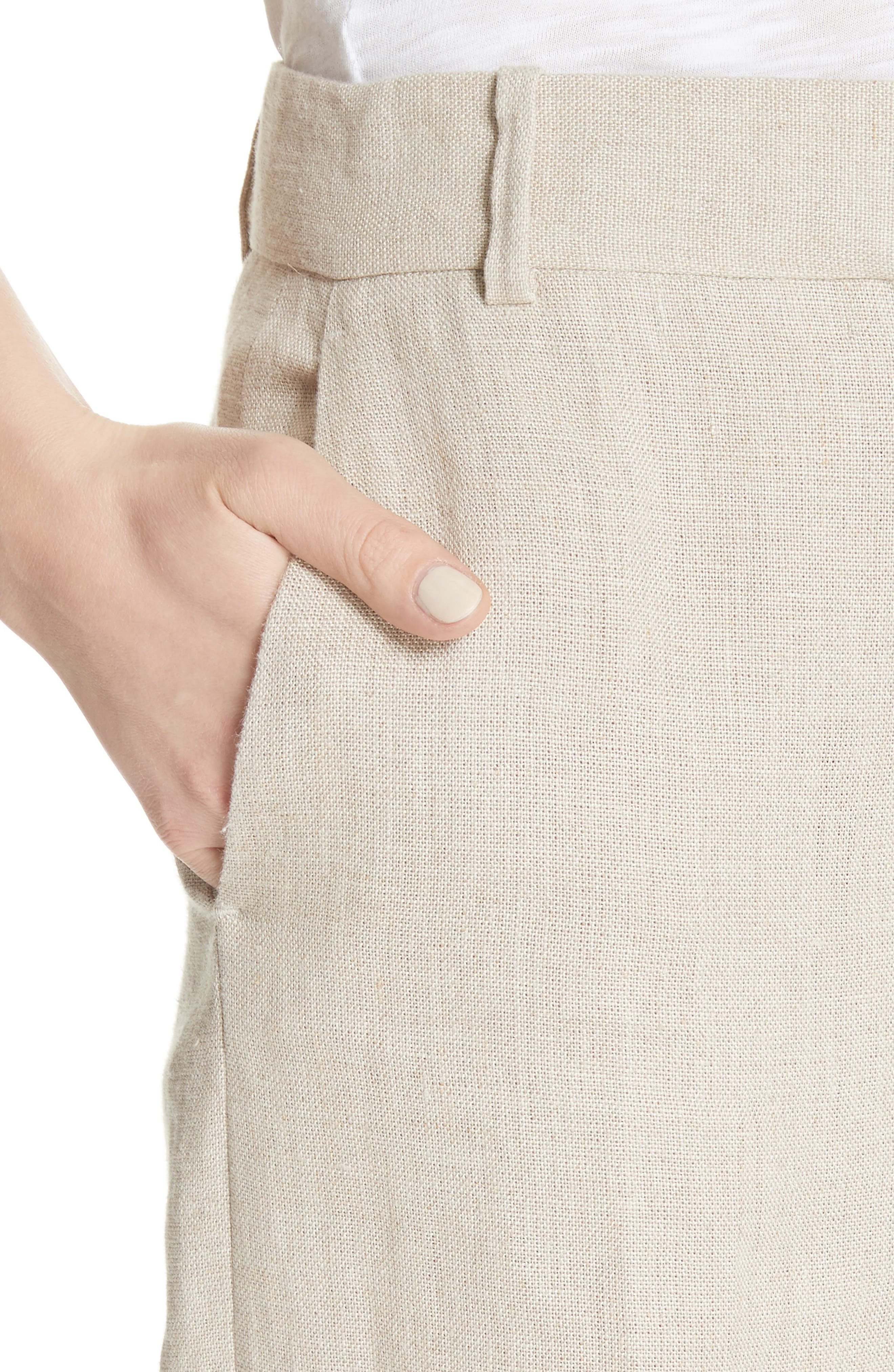 Piazza Integrate Wide Leg Linen Pants,                             Alternate thumbnail 4, color,                             Falx