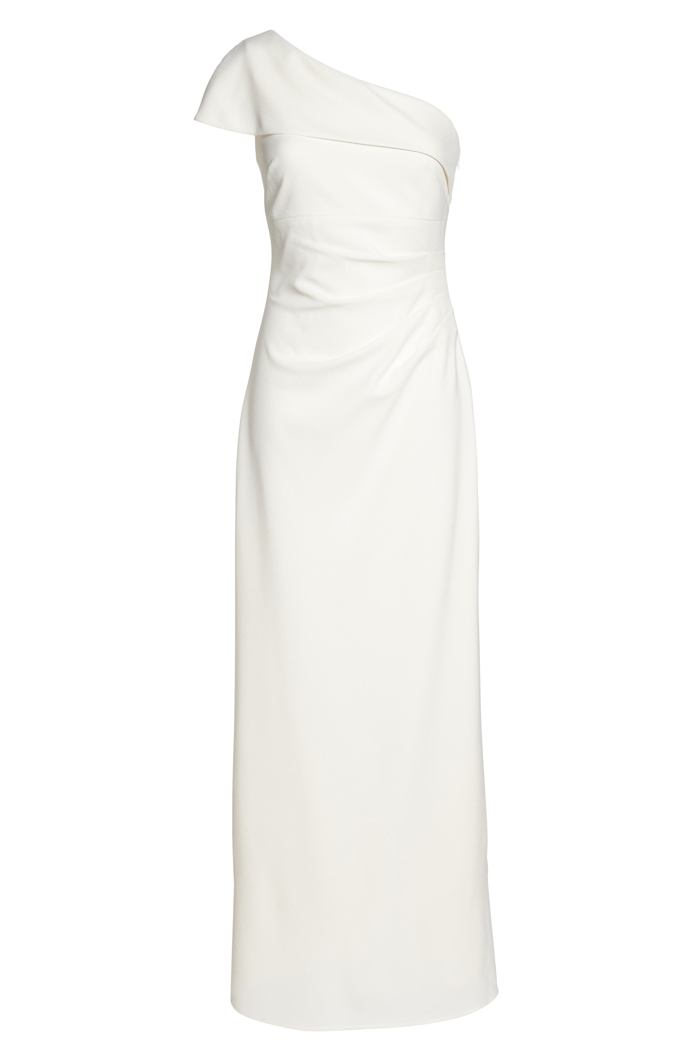 One-Shoulder Crepe Gown,                             Alternate thumbnail 6, color,                             Ivory