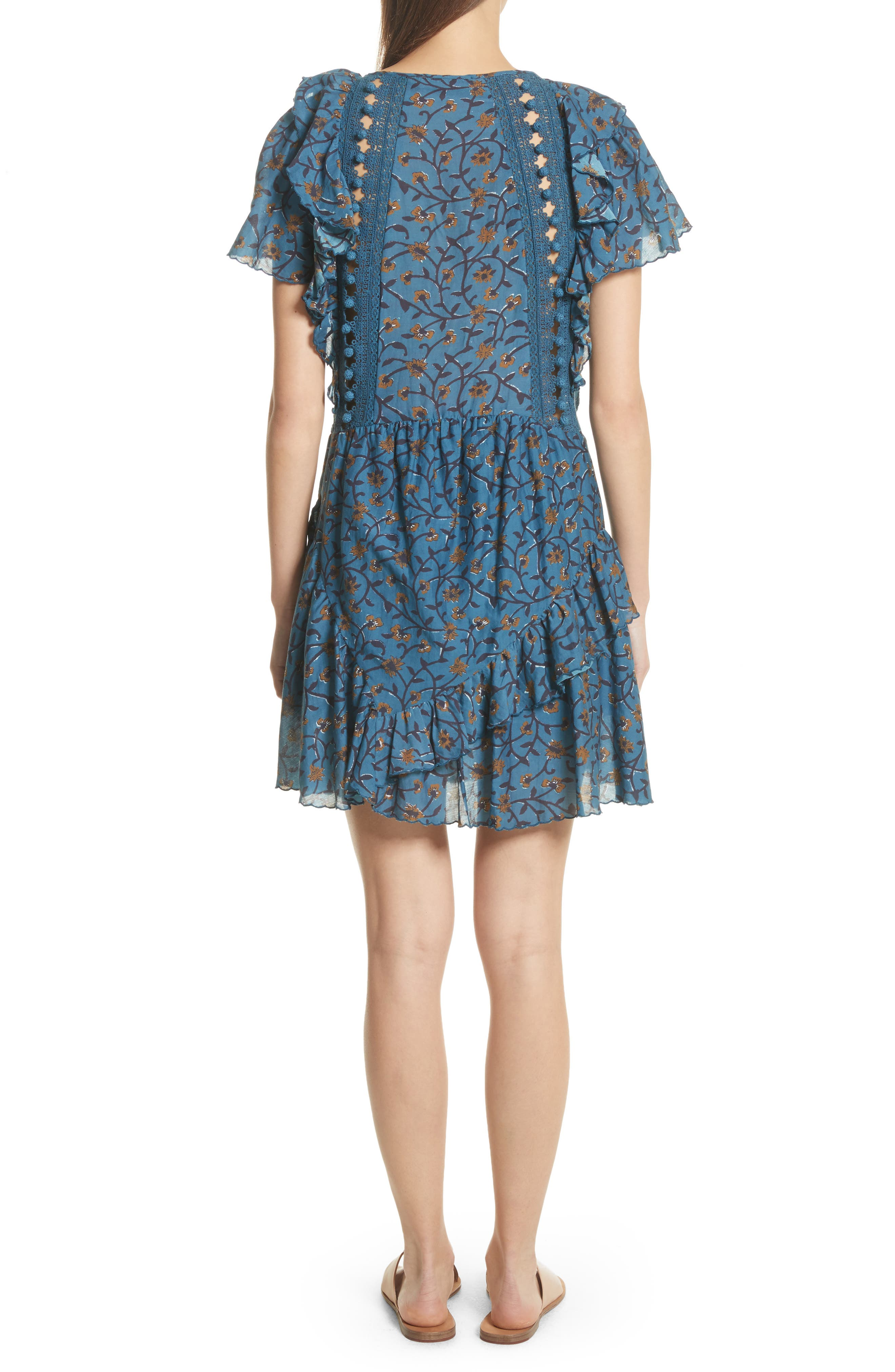 Kaylee Crochet Pompom Dress,                             Alternate thumbnail 2, color,                             Steel Blue