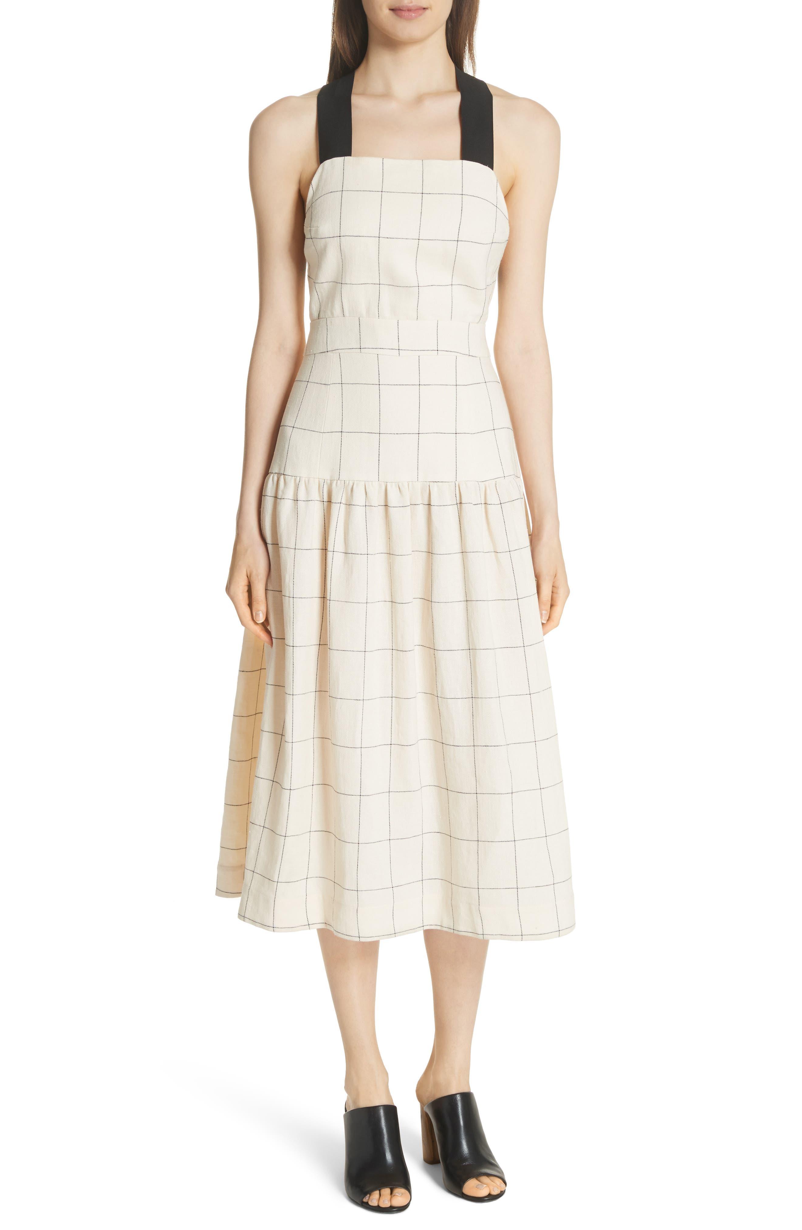 Jacques X-Factor Grid Linen Dress,                             Main thumbnail 1, color,                             Cream Grid