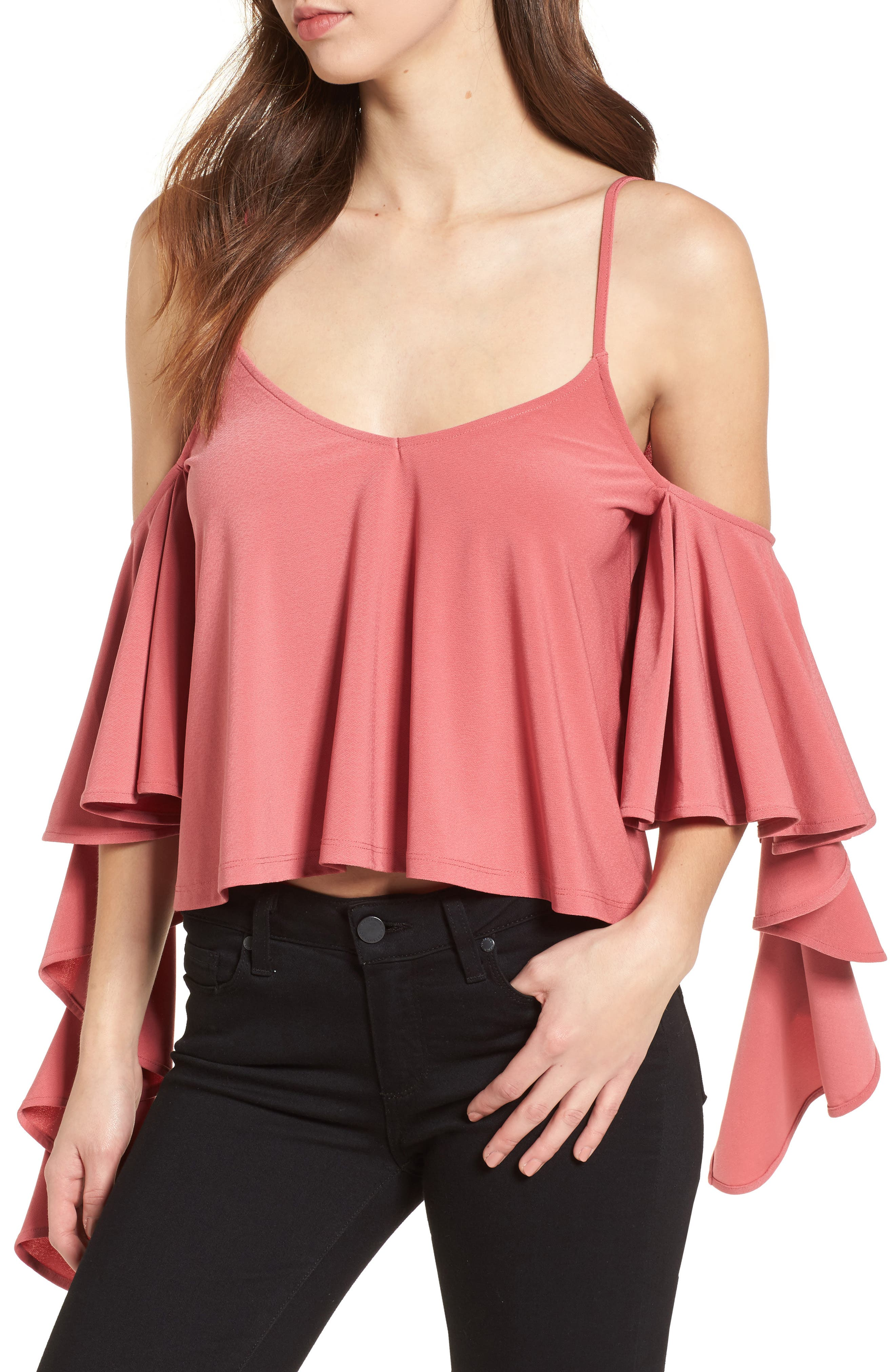 Ruffle Tank,                         Main,                         color, Red Baroque