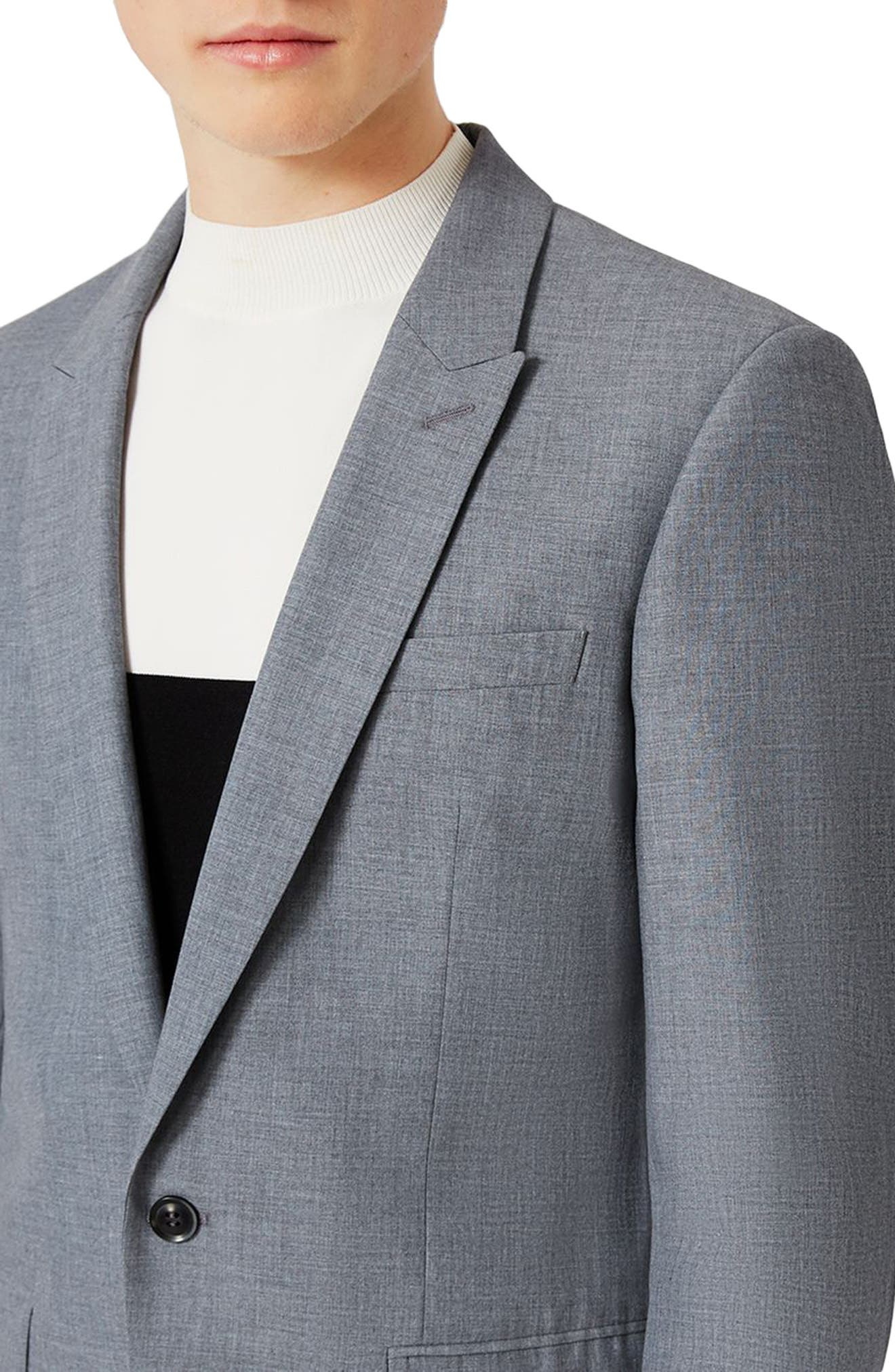 Skinny Fit Crosshatch Suit Jacket,                             Alternate thumbnail 3, color,                             Mid Blue