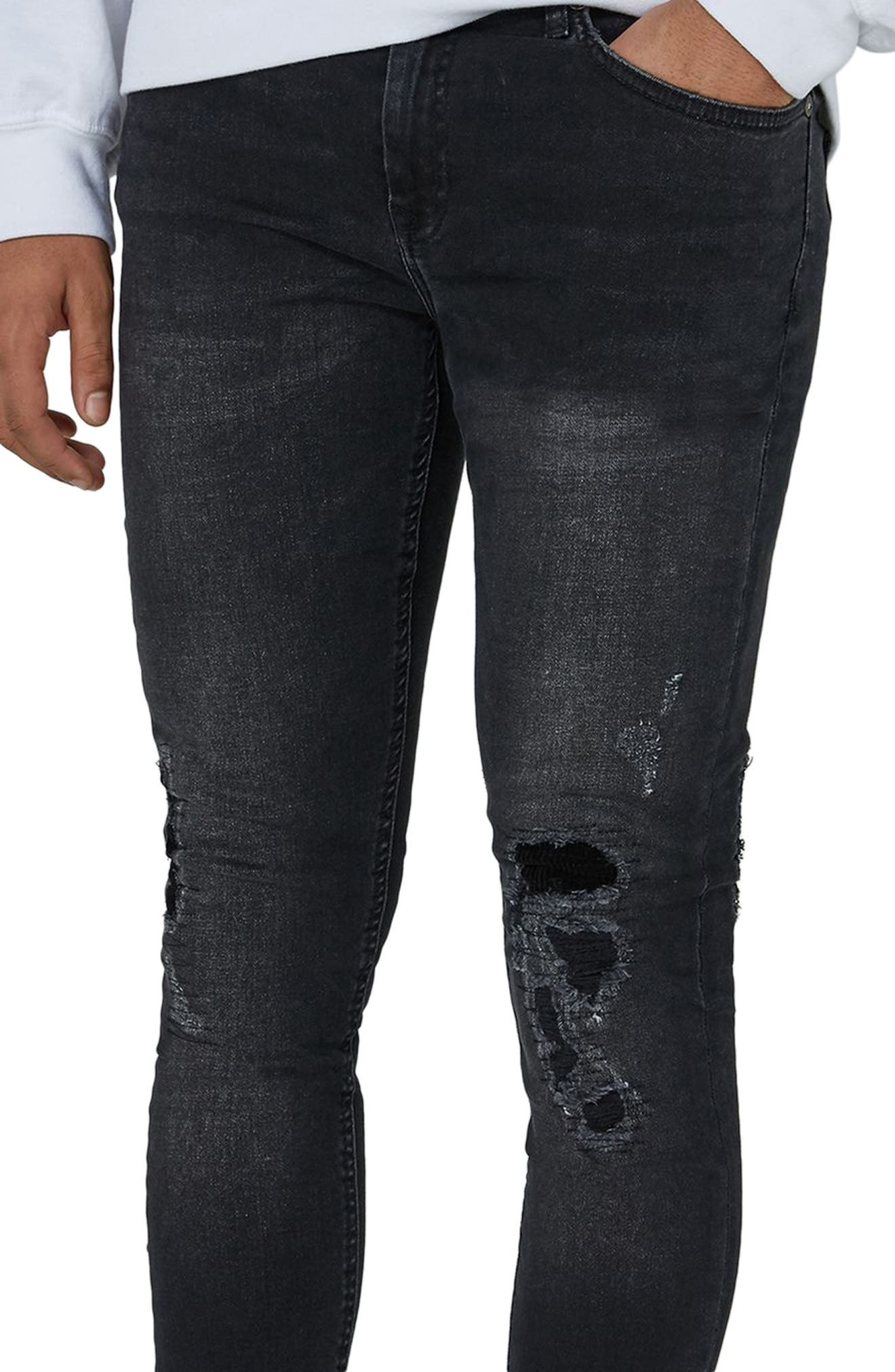 Repair Spray-On Skinny Fit Jeans,                             Alternate thumbnail 3, color,                             Black