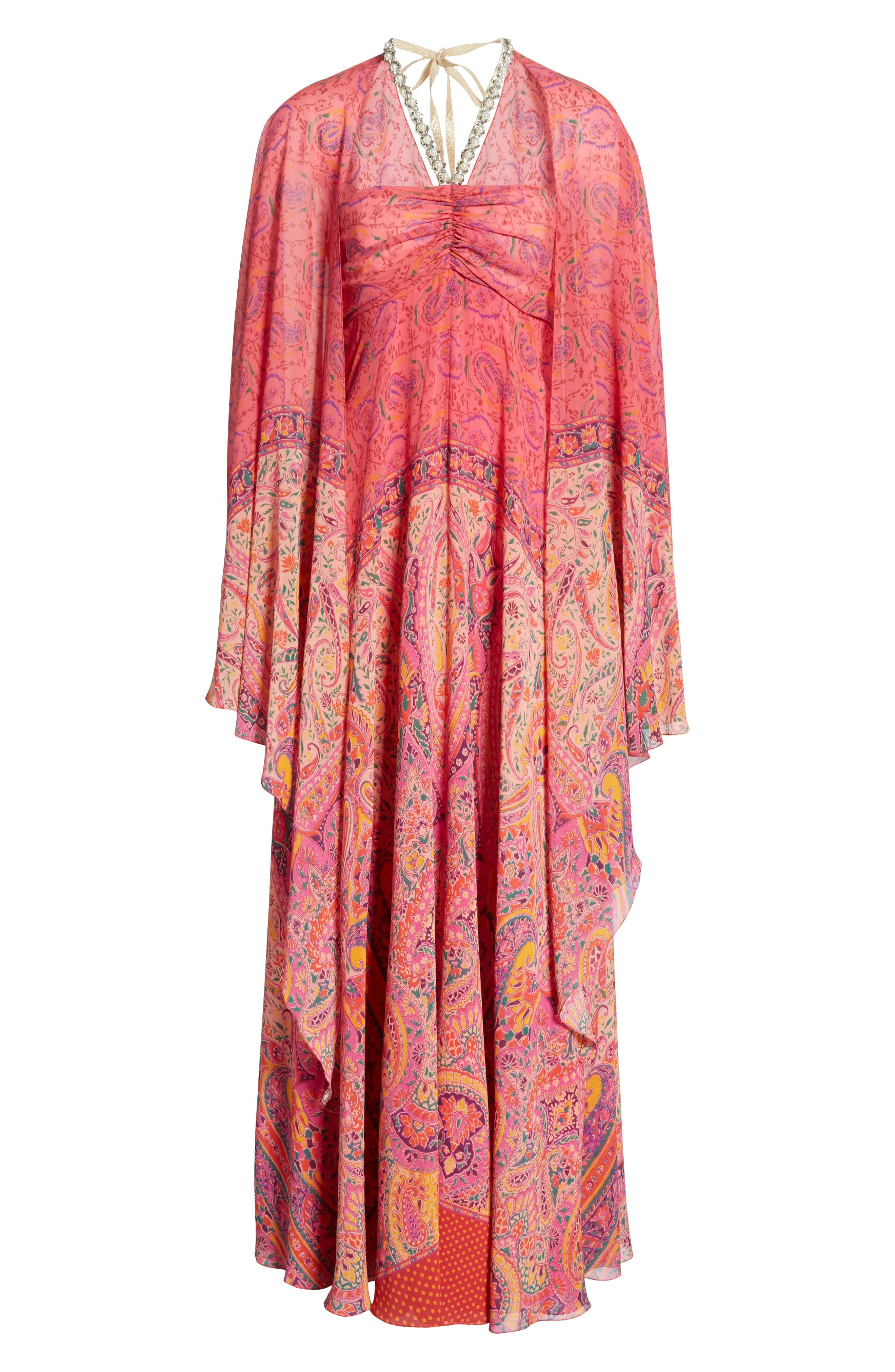 Beaded Halter Neck Silk Maxi Dress with Cape,                             Alternate thumbnail 7, color,                             Pink
