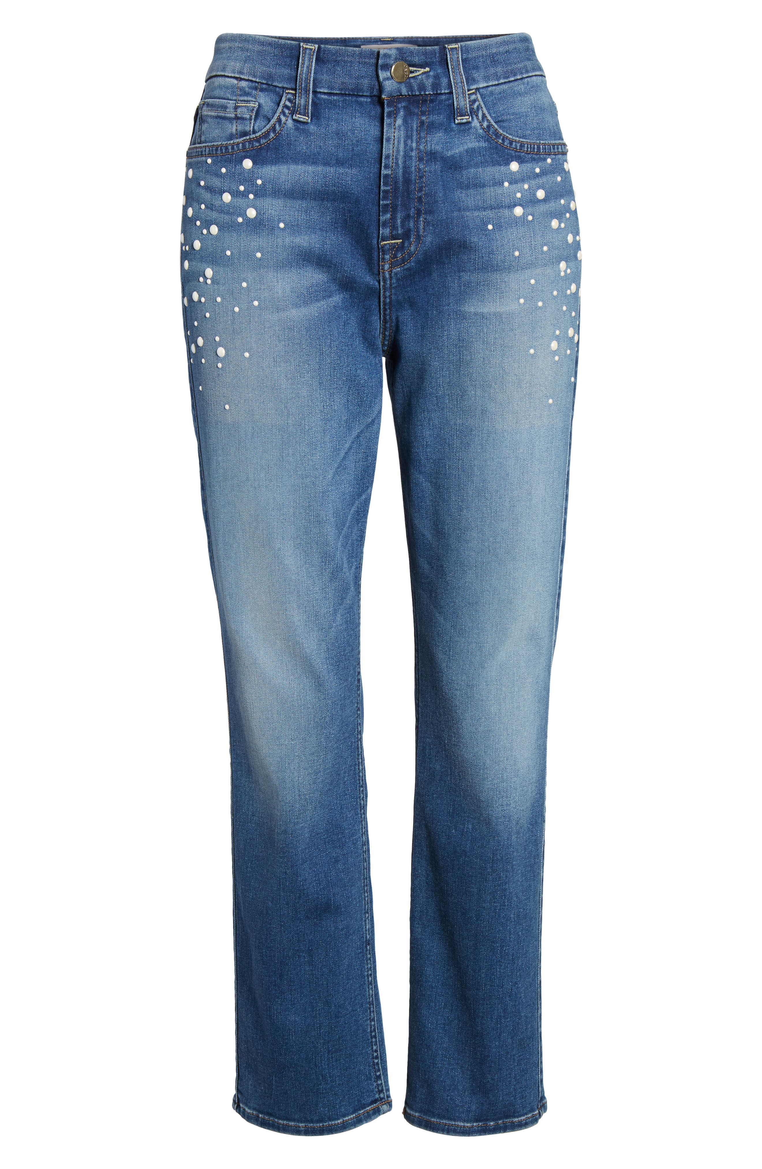 Pearl Embellished Crop Straight Leg Jeans,                             Alternate thumbnail 6, color,                             Garden City