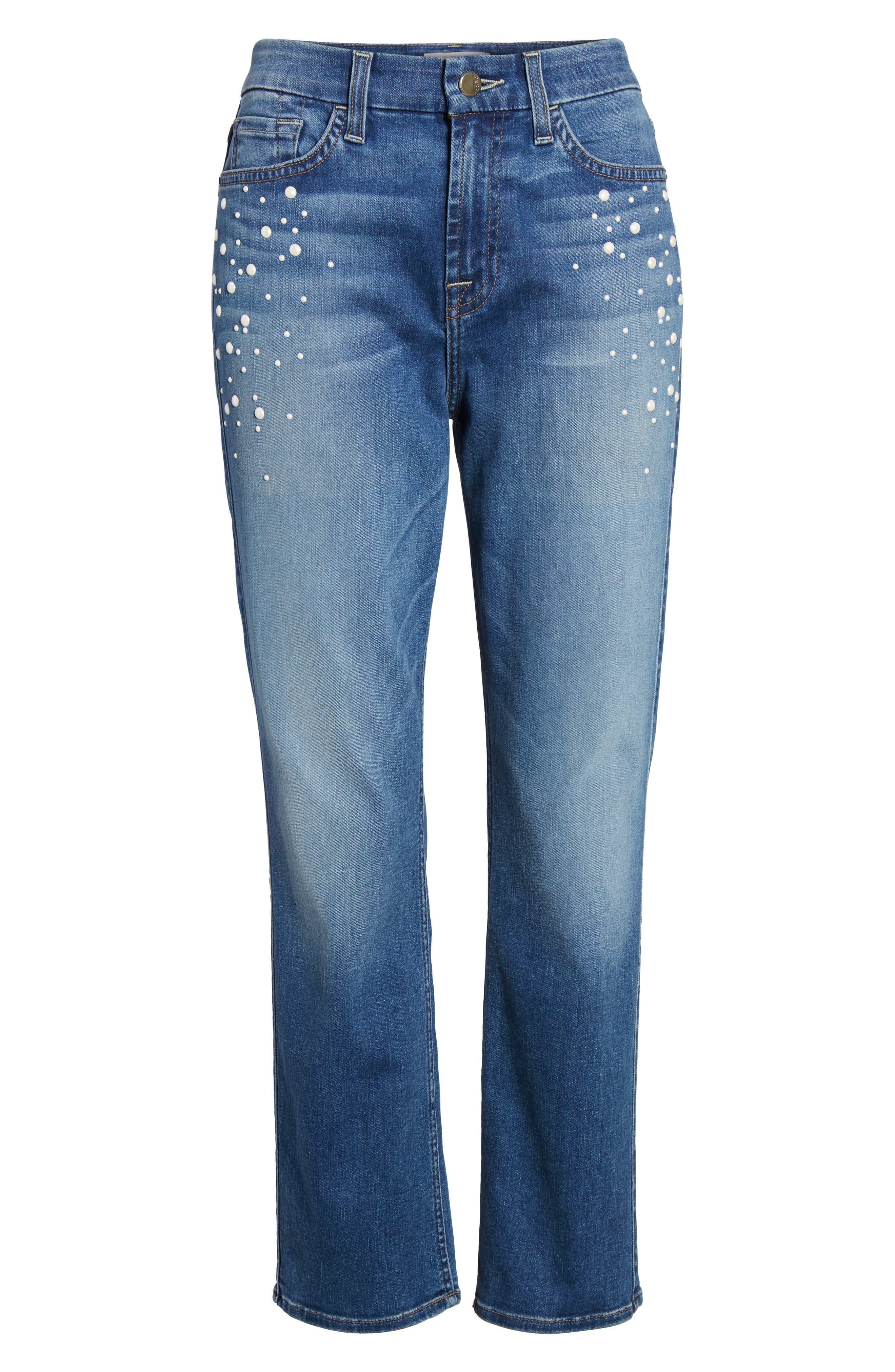 Alternate Image 6  - Jen7 Pearl Embellished Straight Cropped Jeans