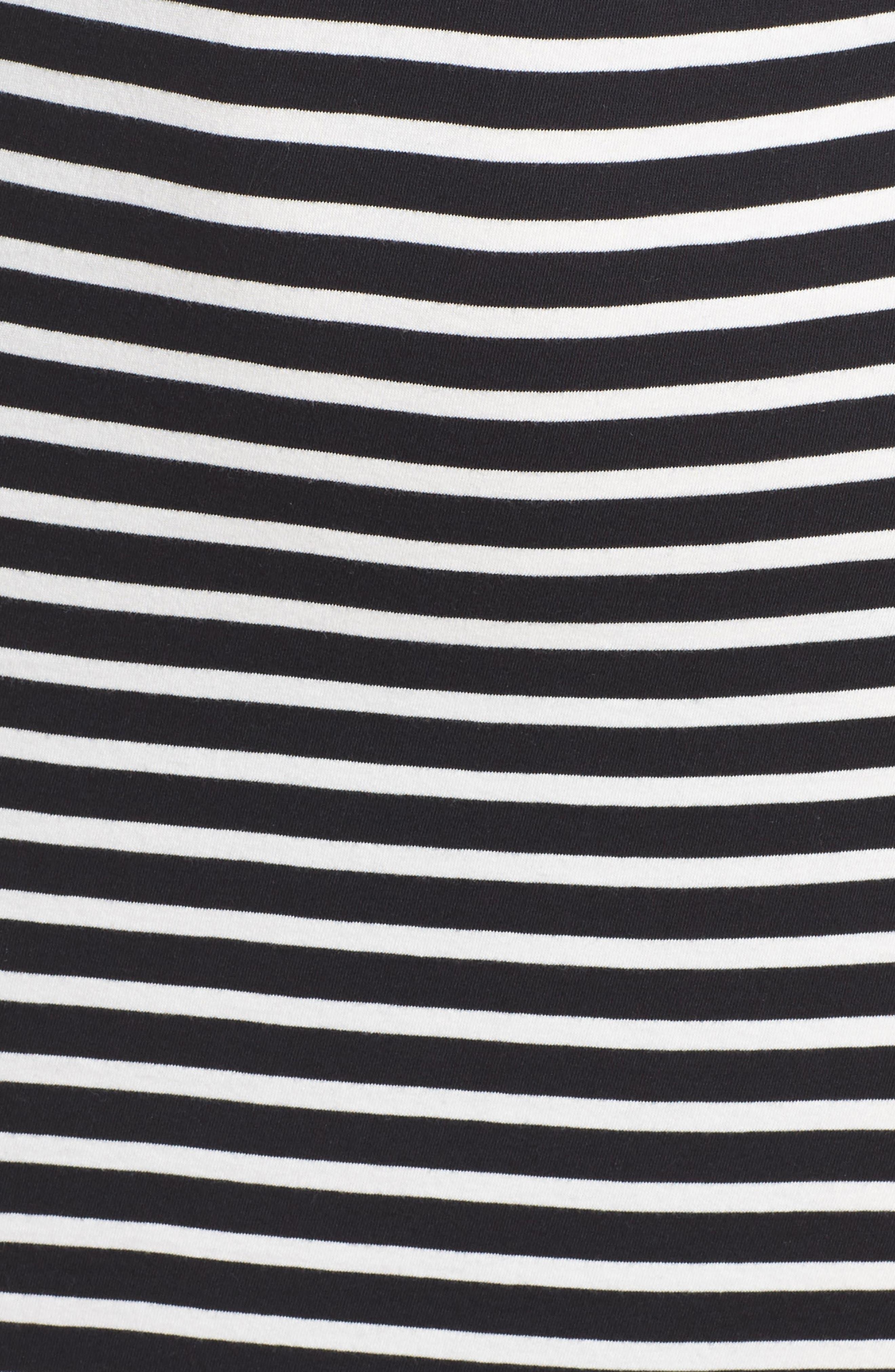 Solana Stripe Knit Midi Dress,                             Alternate thumbnail 5, color,                             Black White Stripe