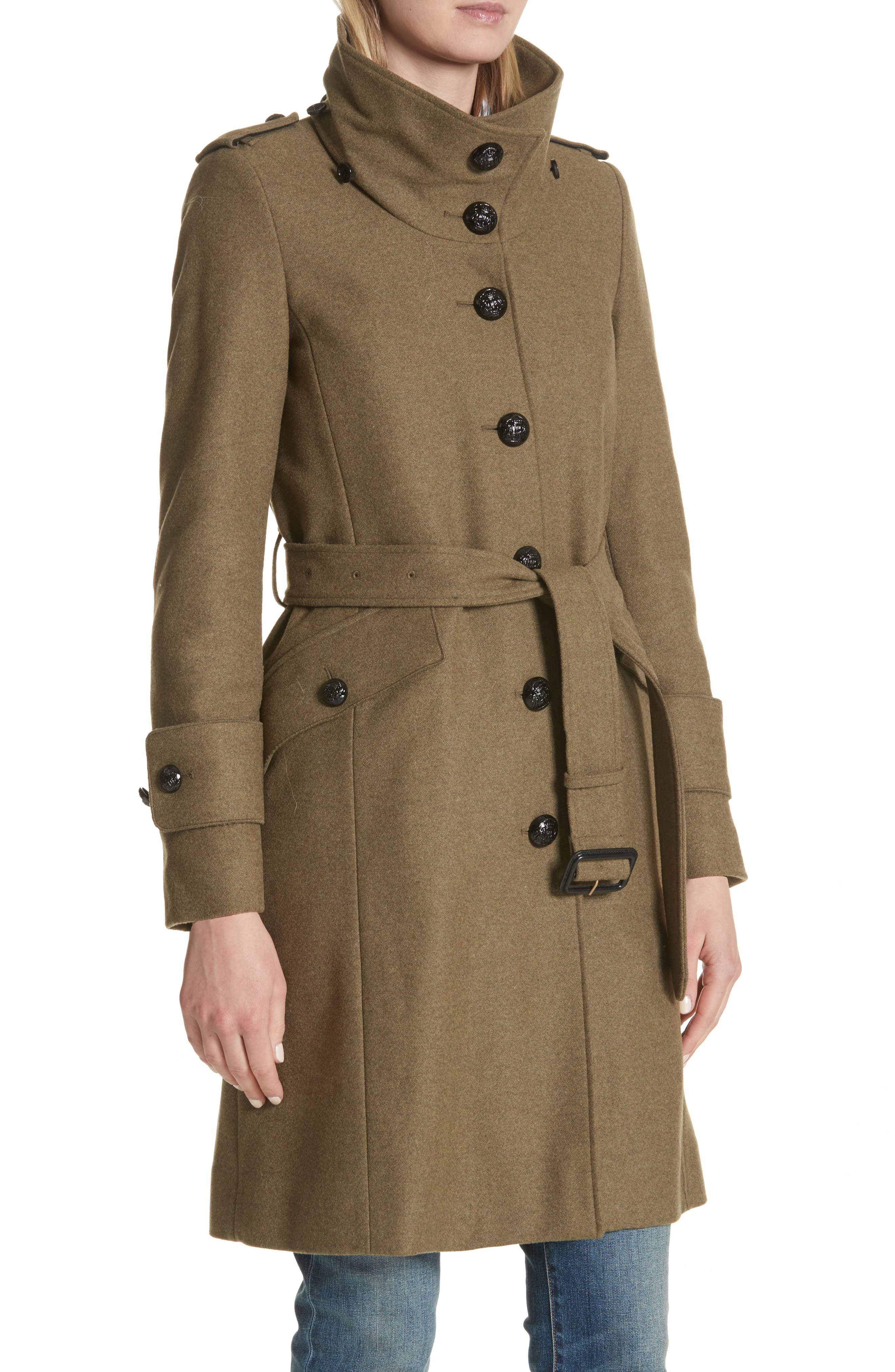 Alternate Image 4  - Burberry Claybrooke Wool Blend Coat with Removable Genuine Fox Fur Trim