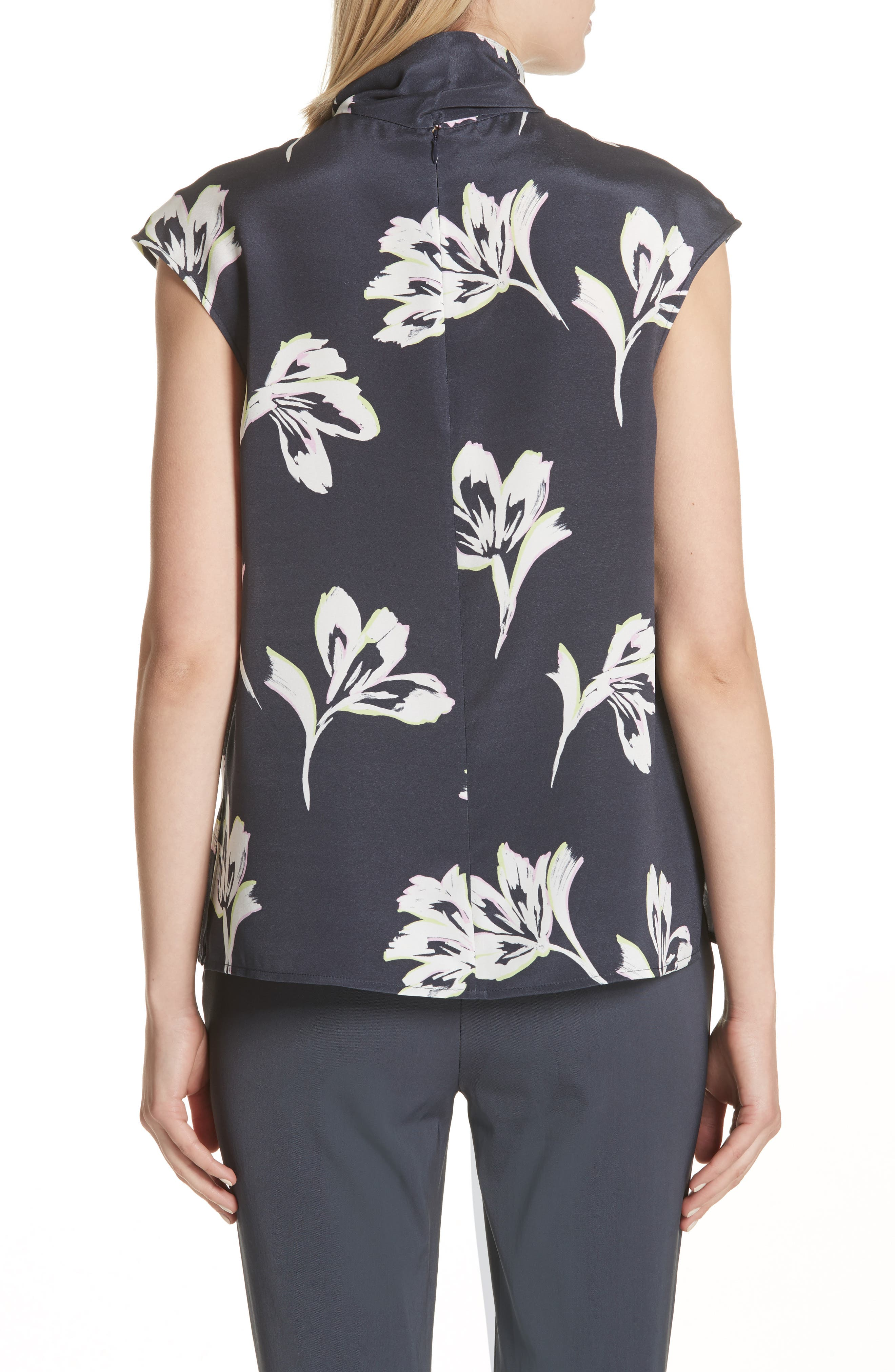 Falling Flower Print Stretch Silk Top,                             Alternate thumbnail 4, color,                             Anthracite Multi