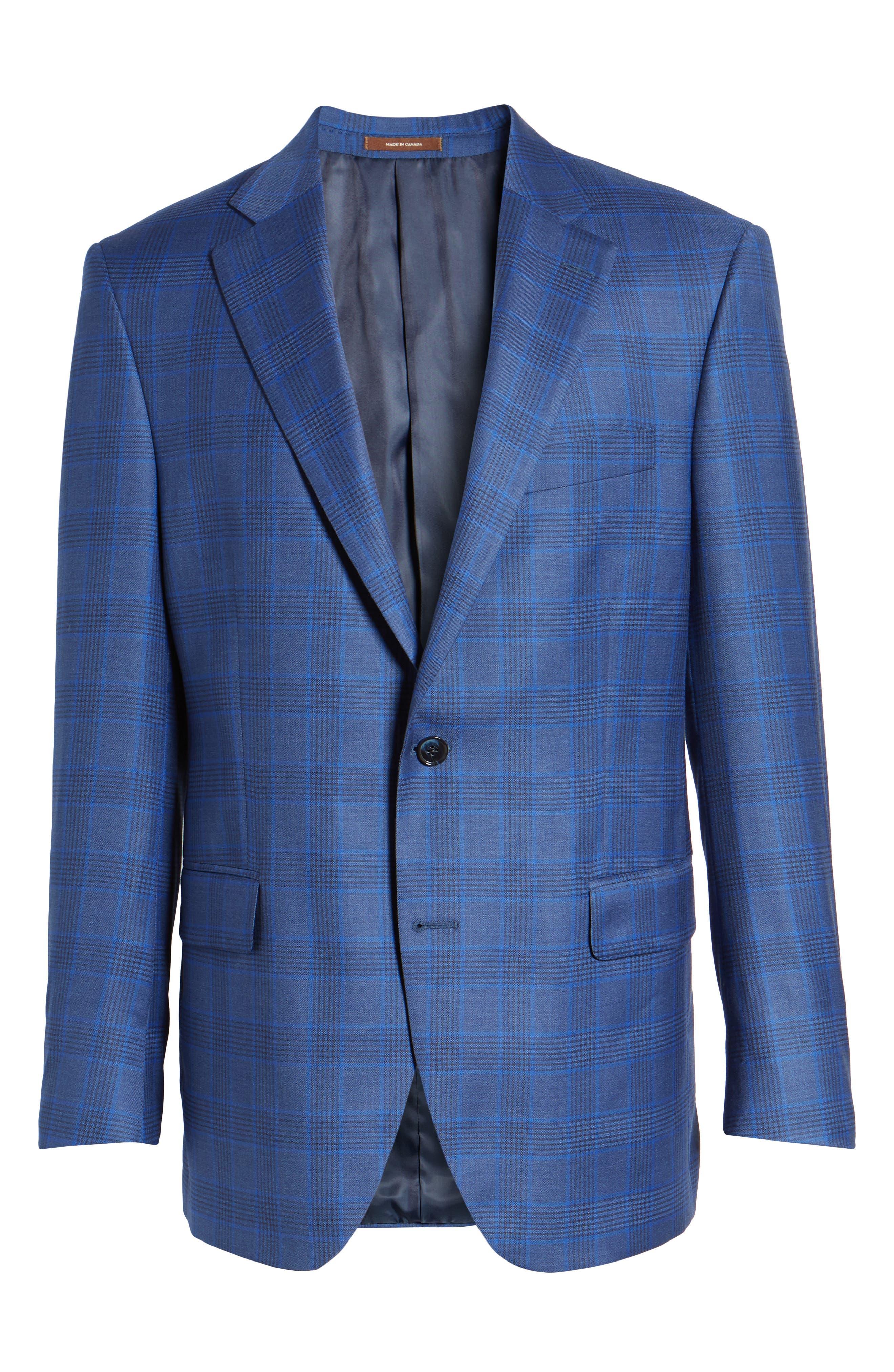 Classic Fit Plaid Wool Sport Coat,                             Alternate thumbnail 6, color,                             Blue
