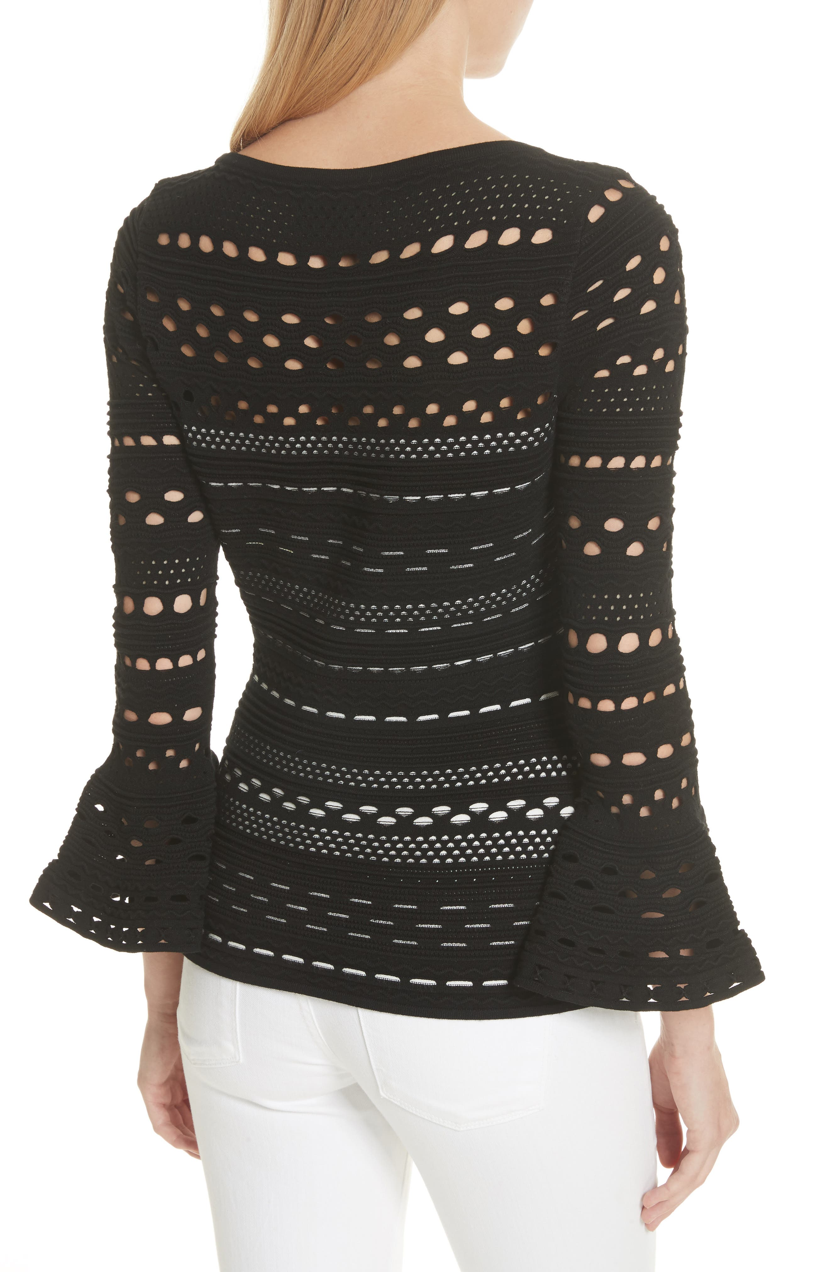 Lace Knit Top,                             Alternate thumbnail 2, color,                             Black/ White