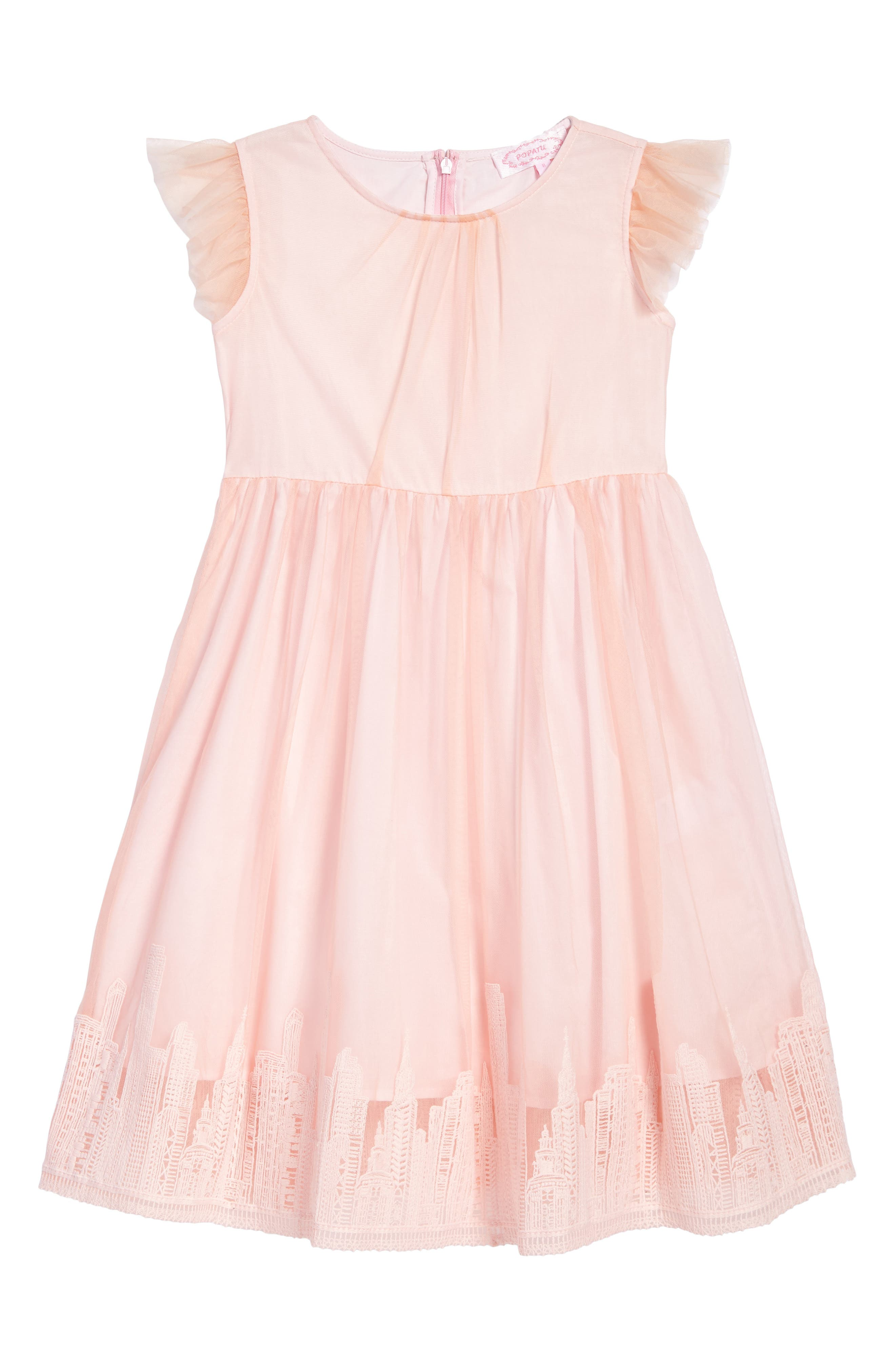 Main Image - Popatu Embroidered Tulle Dress (Toddler Girls, Little Girls & Big Girls)