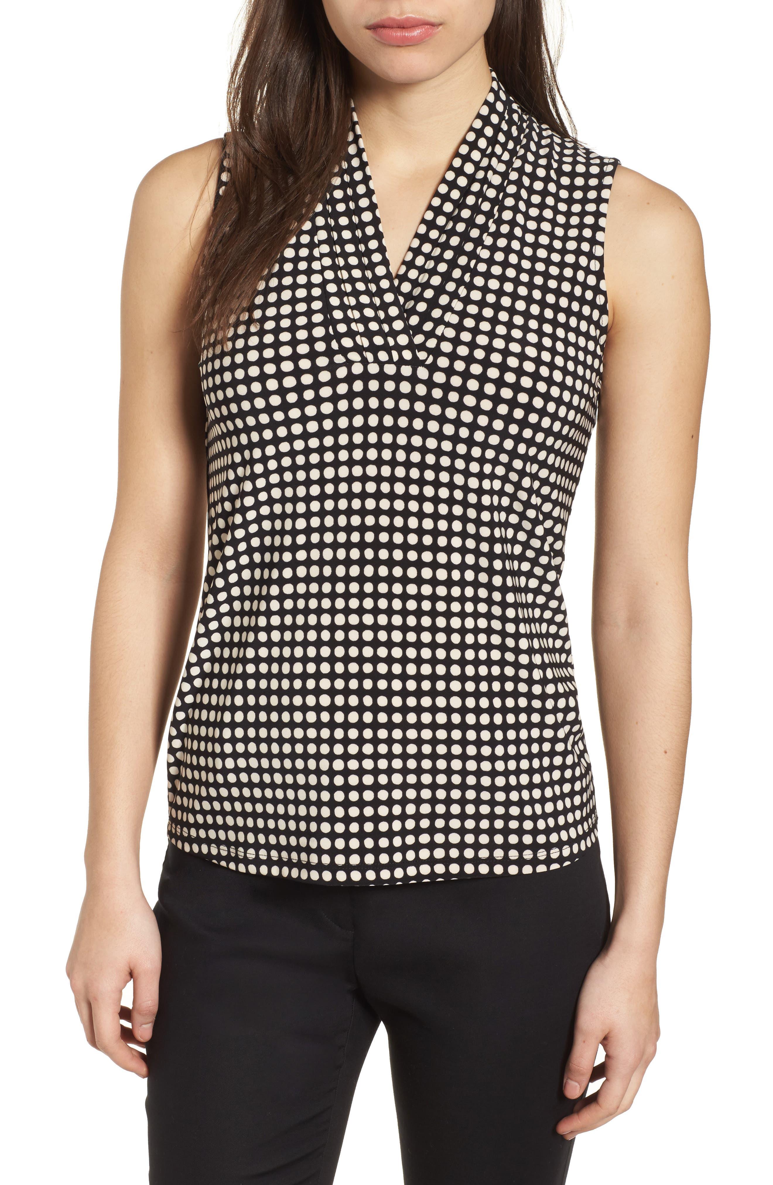 Pleat Neck Dot Matte Jersey Top,                         Main,                         color, Black/ Parchment