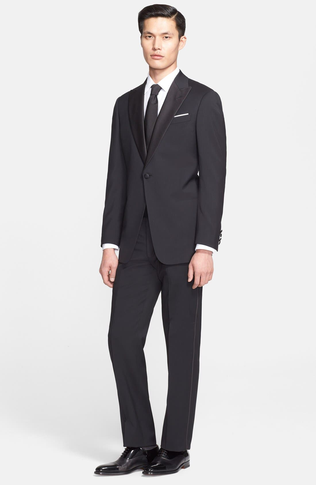 Alternate Image 1 Selected - Armani Collezioni 'Giorgio' Trim Fit Peak Lapel Wool Tuxedo (Free Next Day Shipping)