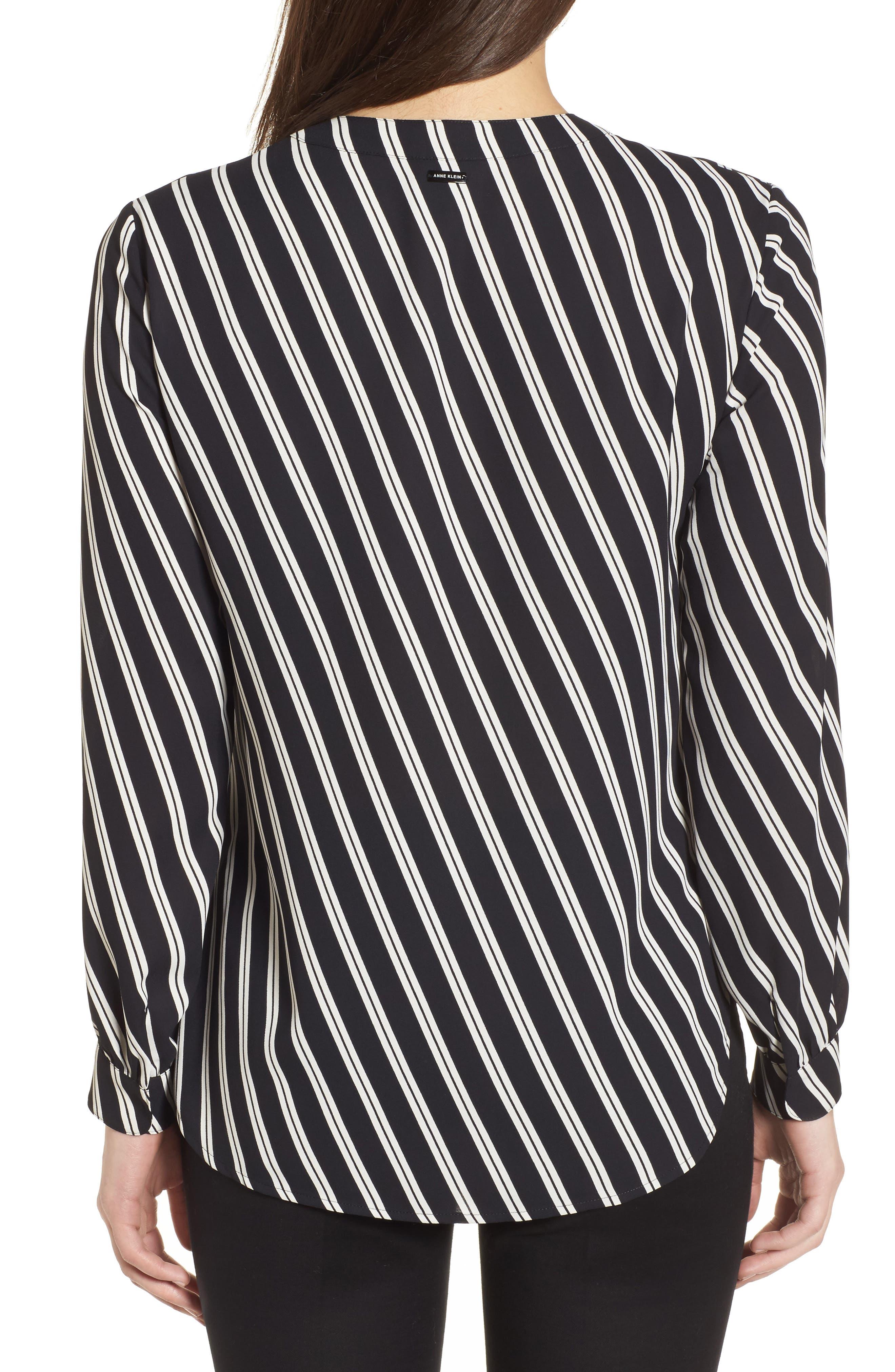 Stripe V-Neck Blouse,                             Alternate thumbnail 2, color,                             Black/ Parchment